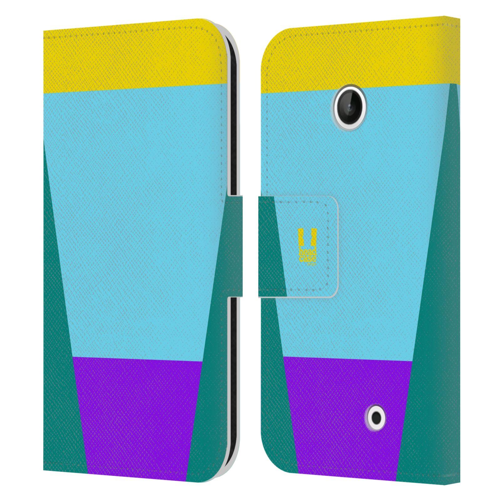 HEAD CASE Flipové pouzdro pro mobil Nokia LUMIA 630/630 DUAL barevné tvary nebesky modrá