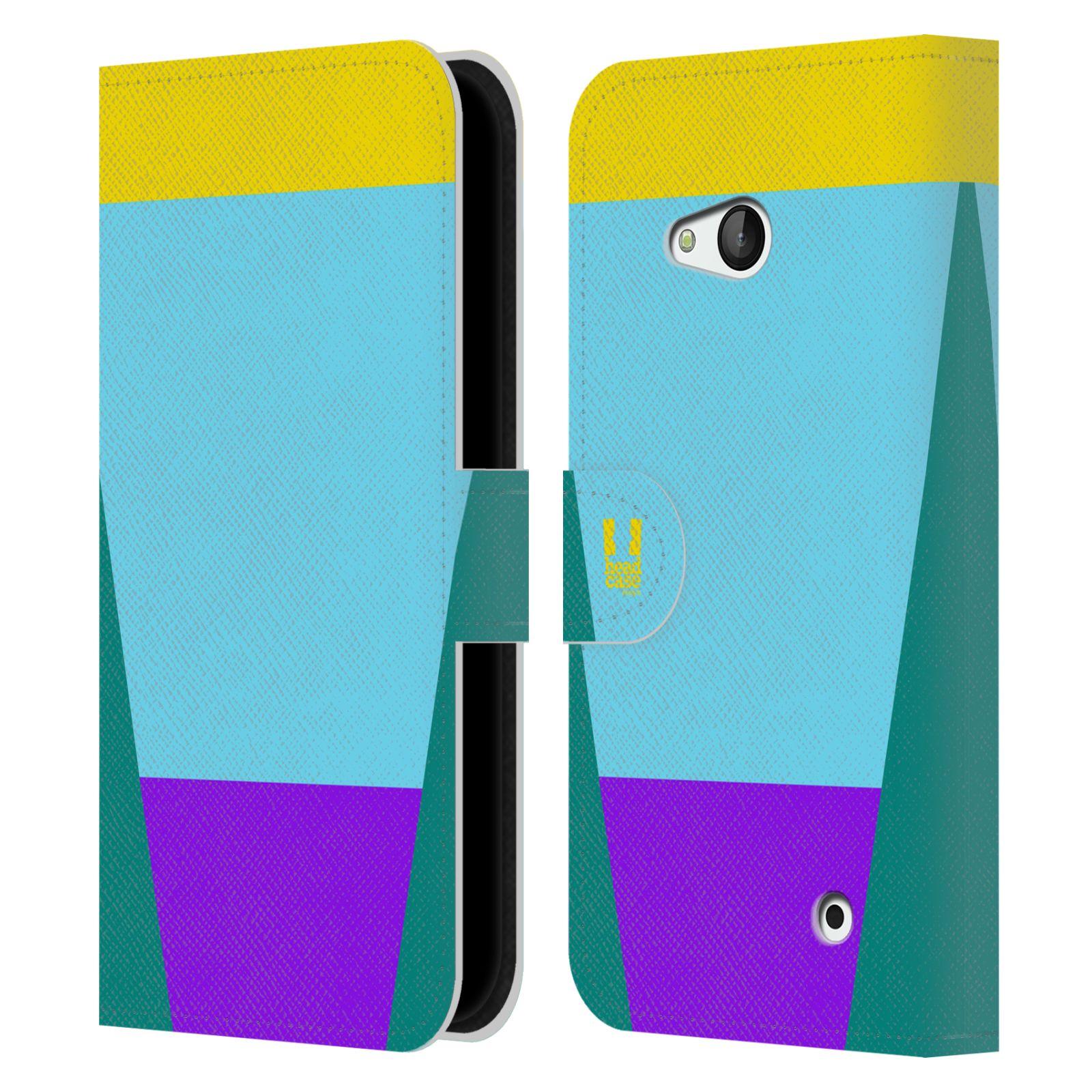 HEAD CASE Flipové pouzdro pro mobil Nokia LUMIA 640 barevné tvary nebesky modrá