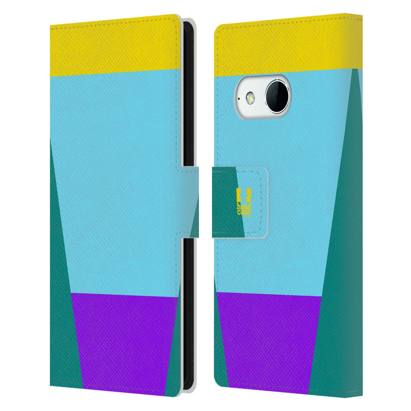 HEAD CASE Flipové pouzdro pro mobil HTC ONE MINI 2 barevné tvary nebesky modrá