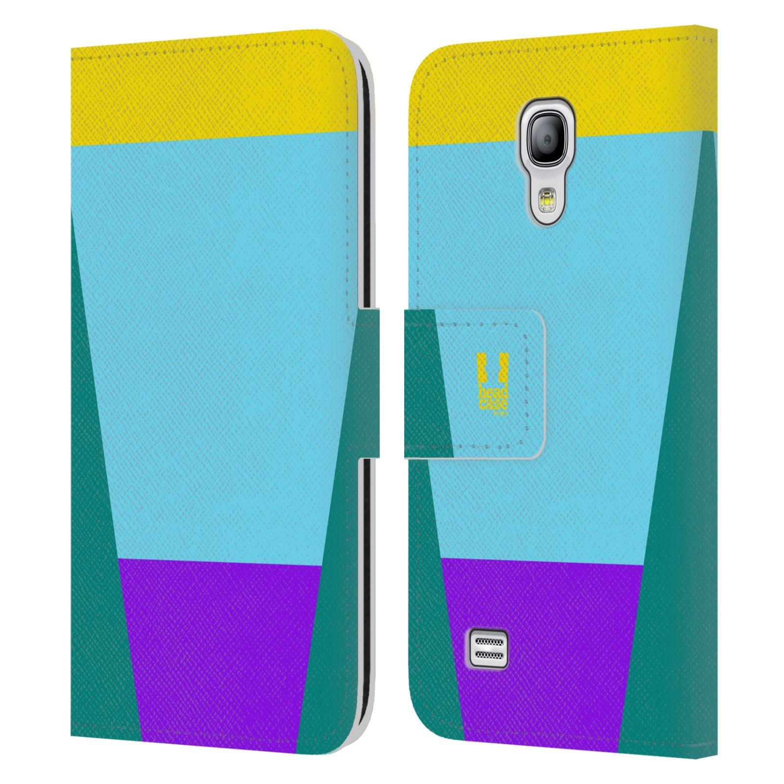 HEAD CASE Flipové pouzdro pro mobil Samsung Galaxy S4 MINI barevné tvary nebesky modrá