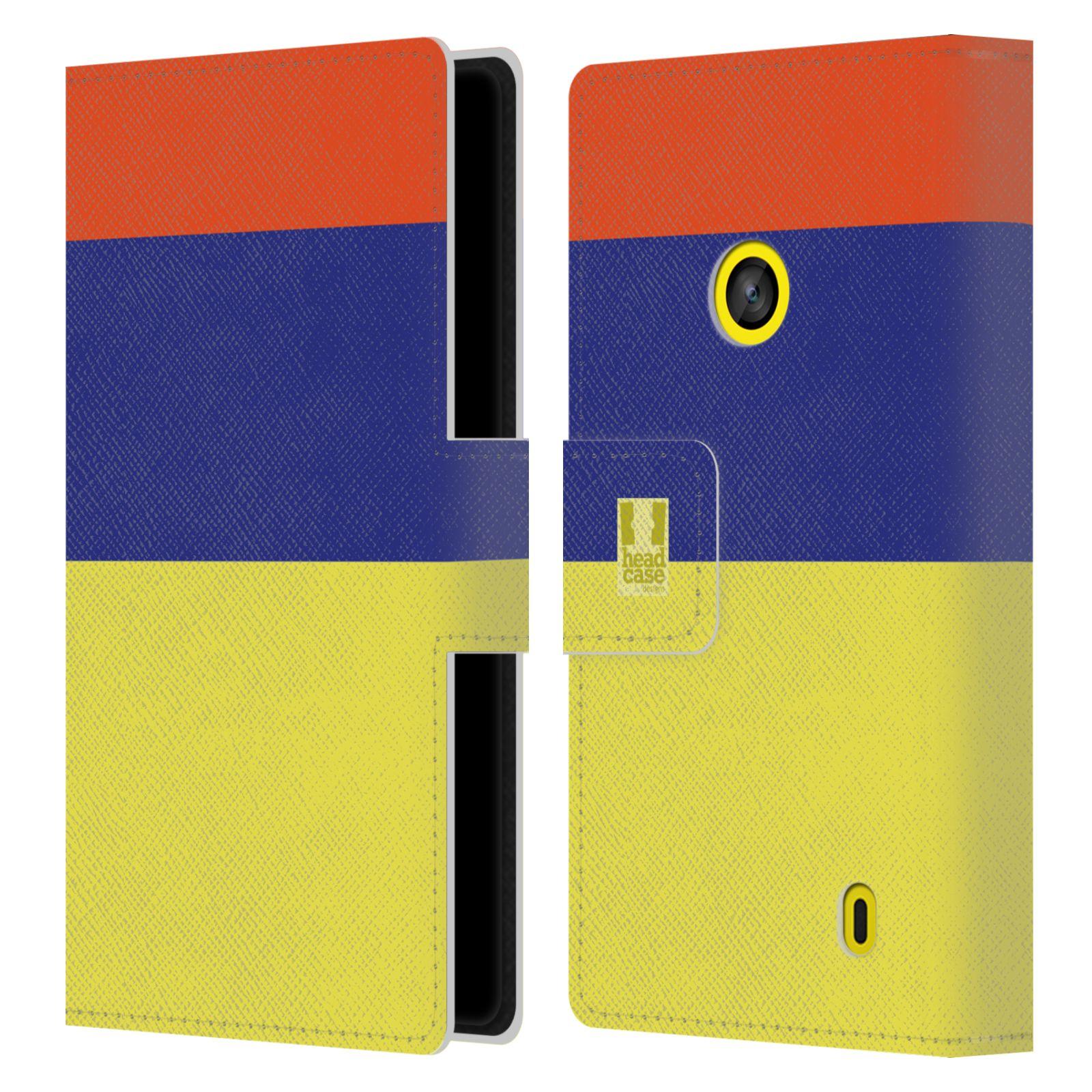 HEAD CASE Flipové pouzdro pro mobil Nokia LUMIA 520/525 barevné tvary žlutá, modrá, červená