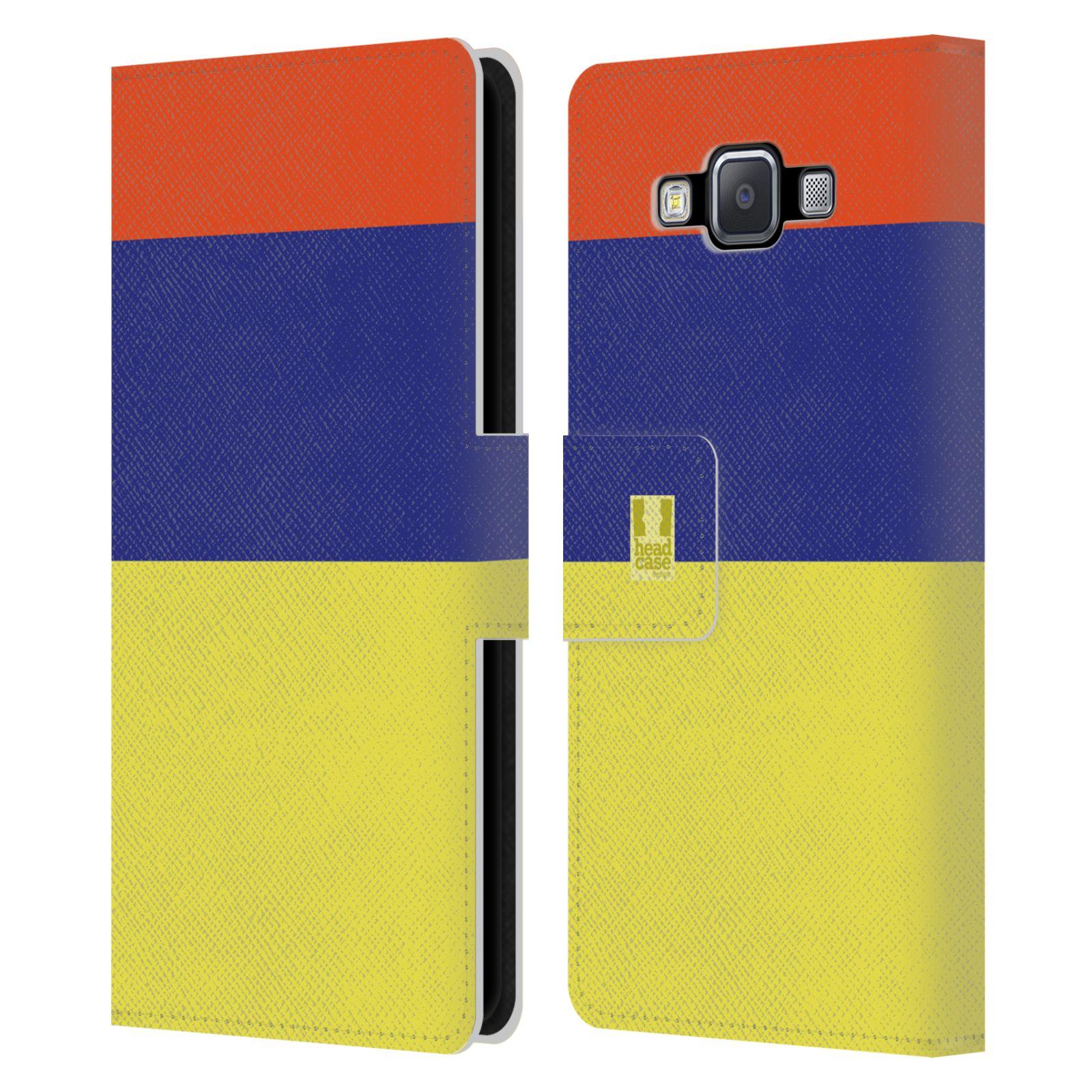 HEAD CASE Flipové pouzdro pro mobil Samsung Galaxy A5 barevné tvary žlutá, modrá, červená