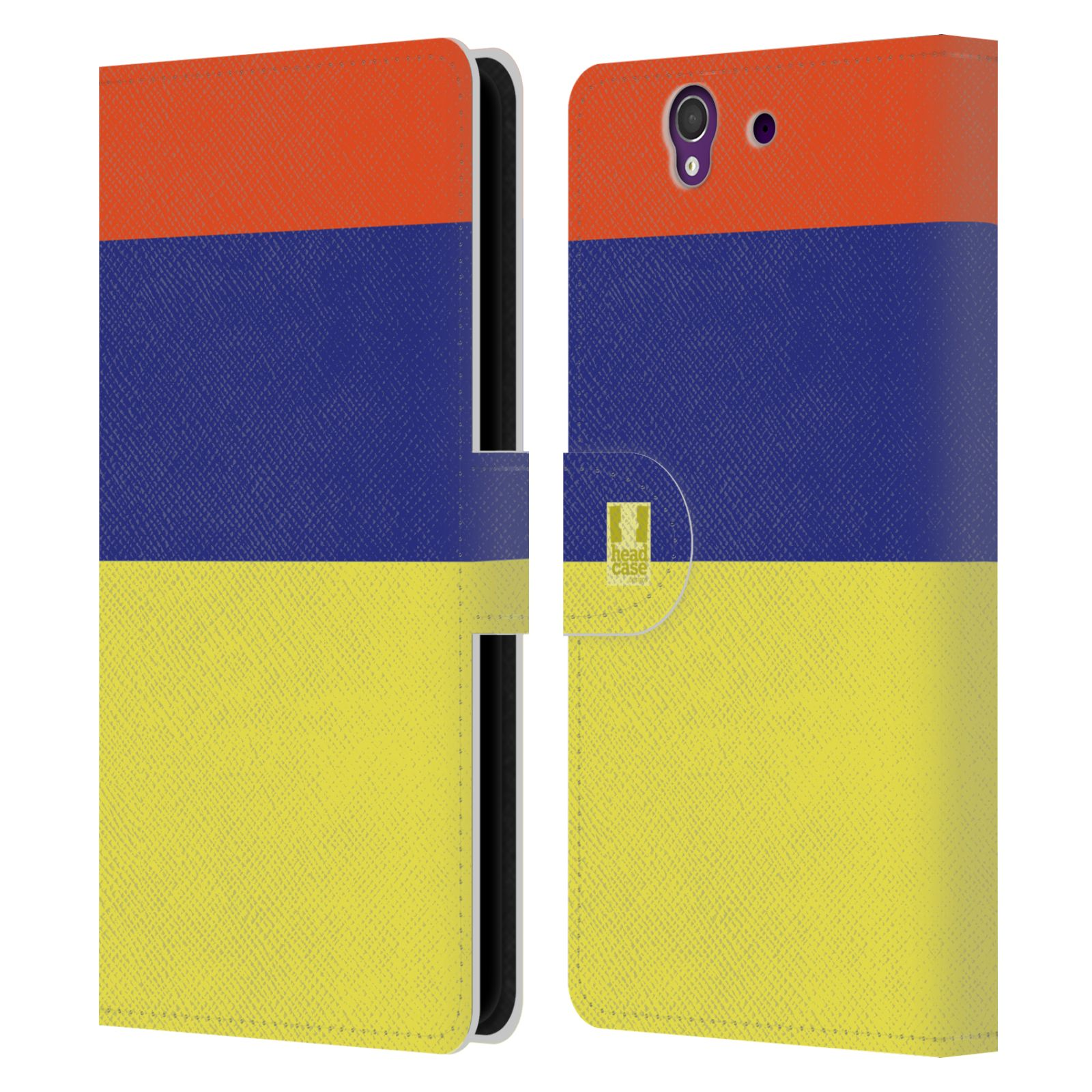 HEAD CASE Flipové pouzdro pro mobil SONY Xperia Z barevné tvary žlutá, modrá, červená