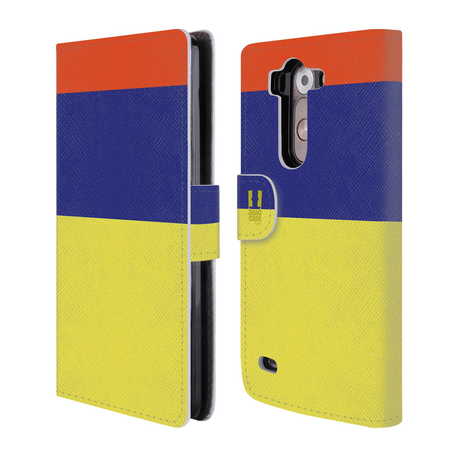 HEAD CASE Flipové pouzdro pro mobil LG G3s barevné tvary žlutá, modrá, červená