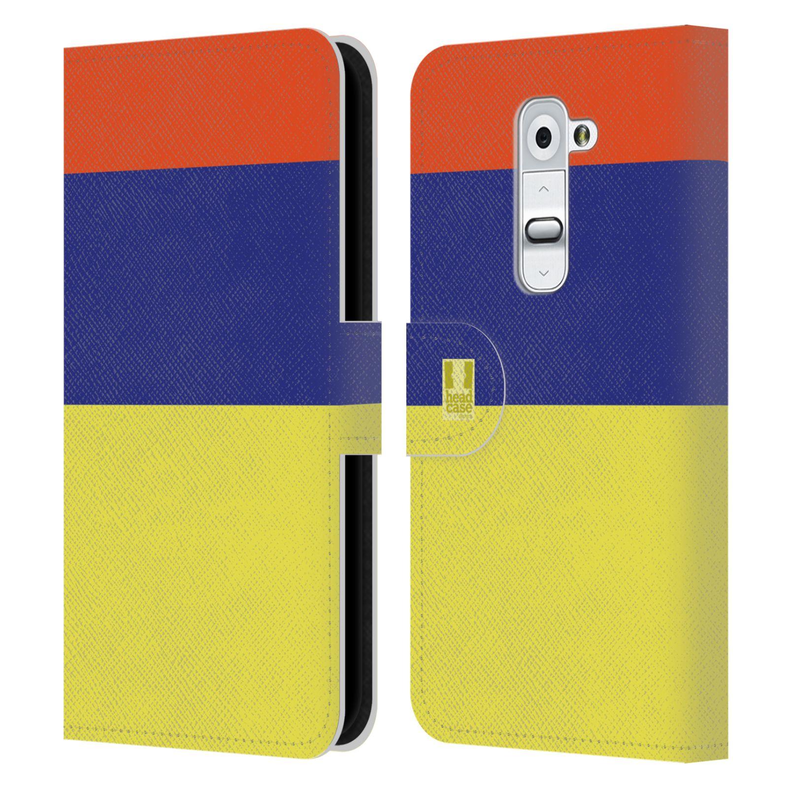 HEAD CASE Flipové pouzdro pro mobil LG G2 barevné tvary žlutá, modrá, červená