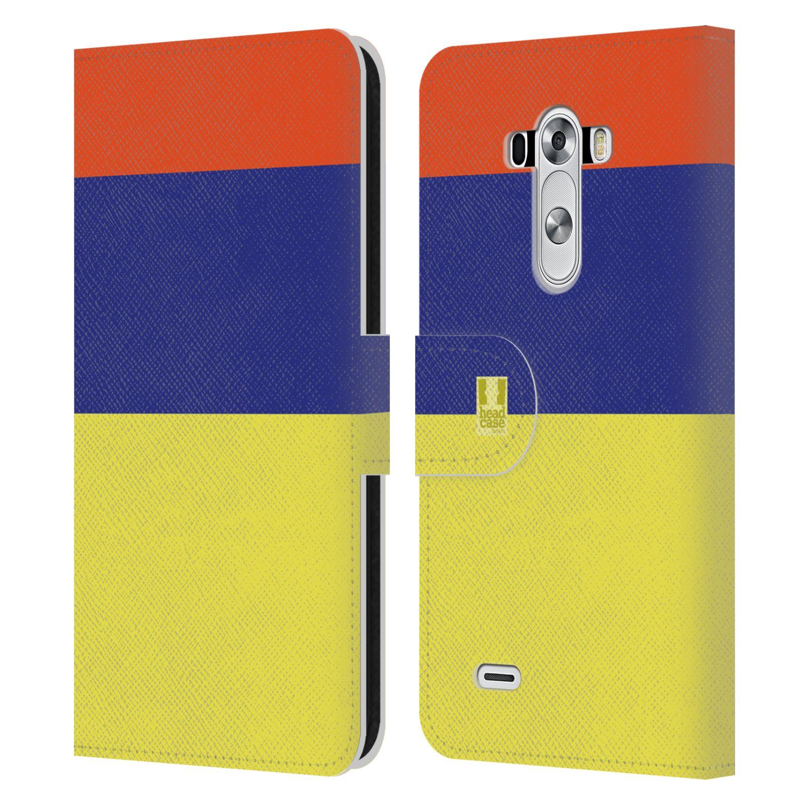 HEAD CASE Flipové pouzdro pro mobil LG G3 barevné tvary žlutá, modrá, červená