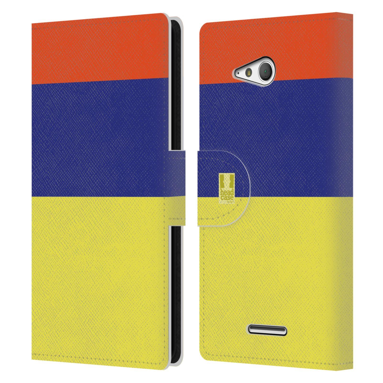 HEAD CASE Flipové pouzdro pro mobil SONY Xperia E4g barevné tvary žlutá, modrá, červená