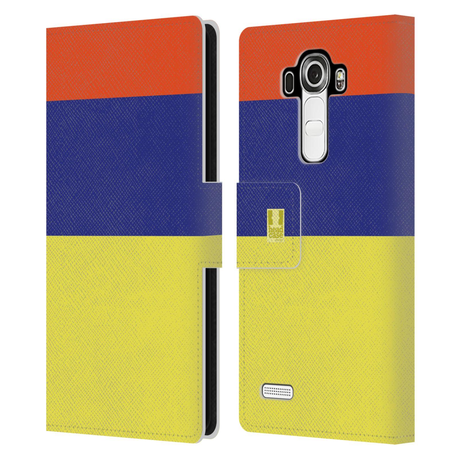 HEAD CASE Flipové pouzdro pro mobil LG G4 barevné tvary žlutá, modrá, červená