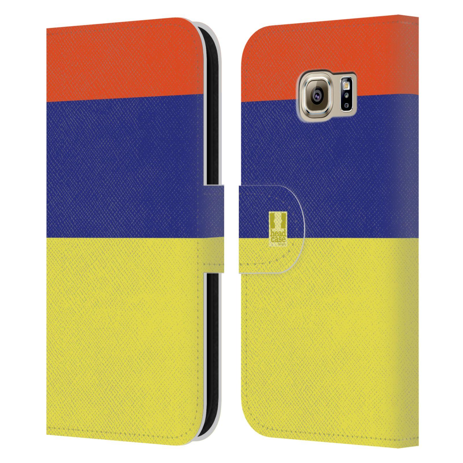HEAD CASE Flipové pouzdro pro mobil Samsung Galaxy S6 barevné tvary žlutá, modrá, červená