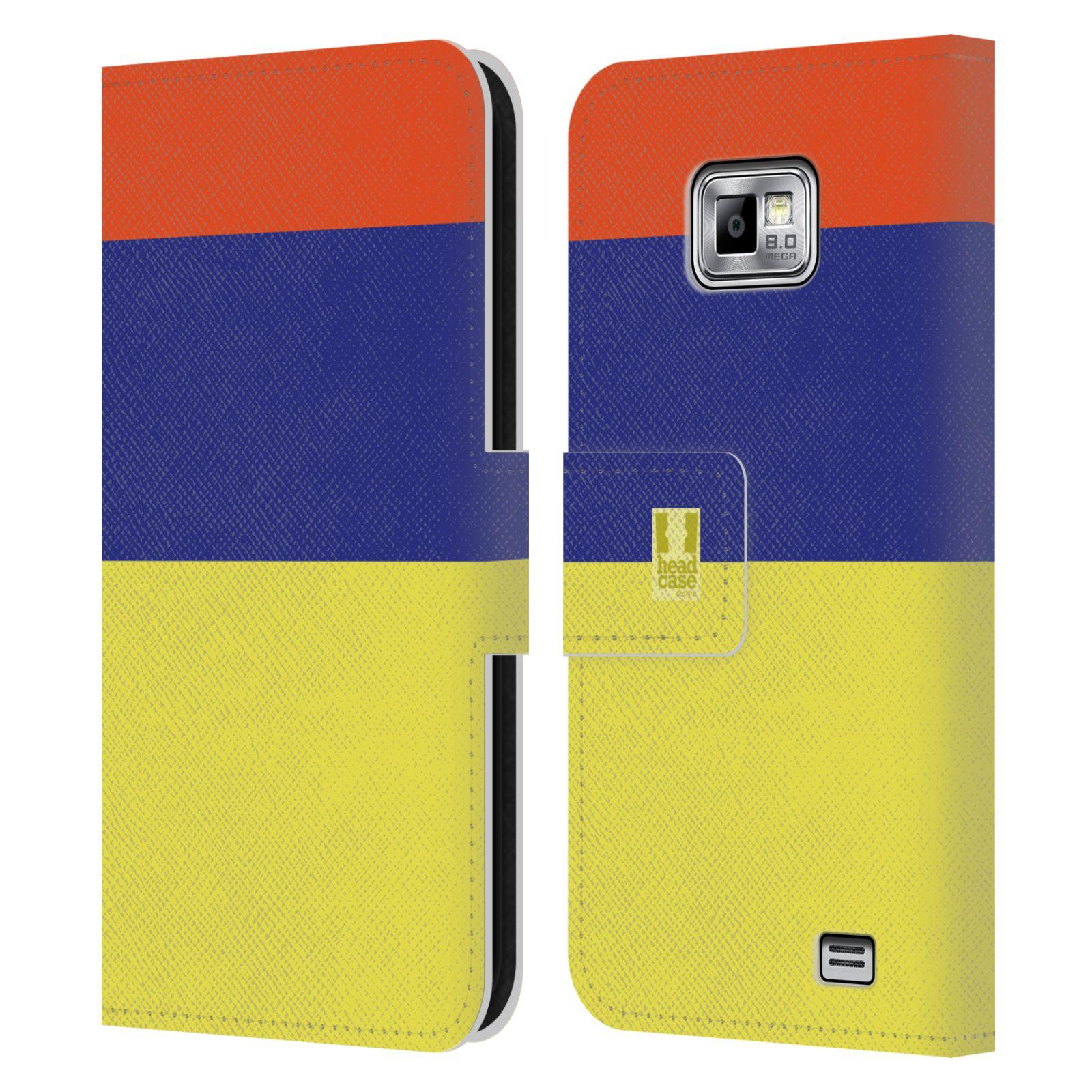 HEAD CASE Flipové pouzdro pro mobil Samsung Galaxy S2 i9100 barevné tvary žlutá, modrá, červená