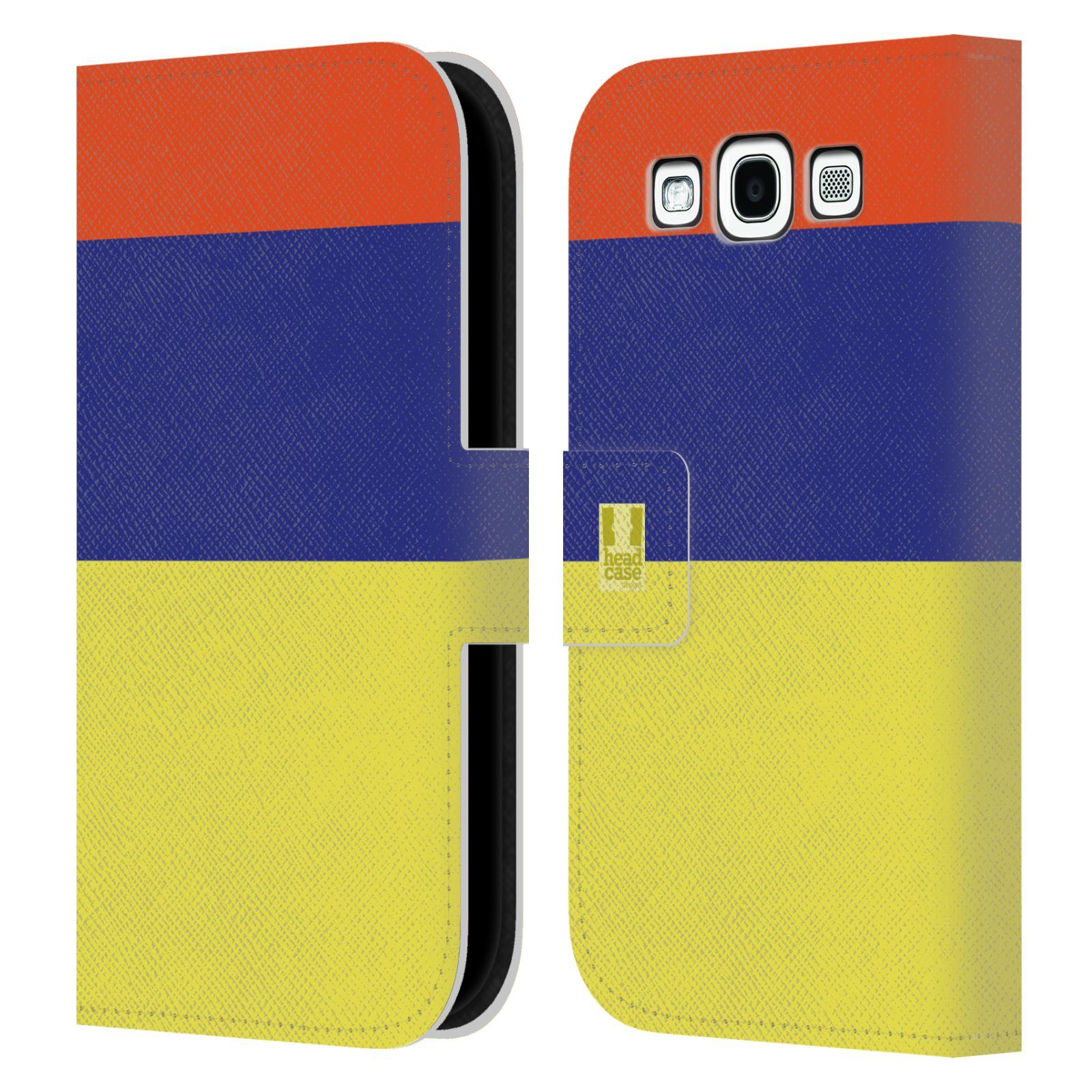HEAD CASE Flipové pouzdro pro mobil Samsung Galaxy S3 I9300 barevné tvary žlutá, modrá, červená