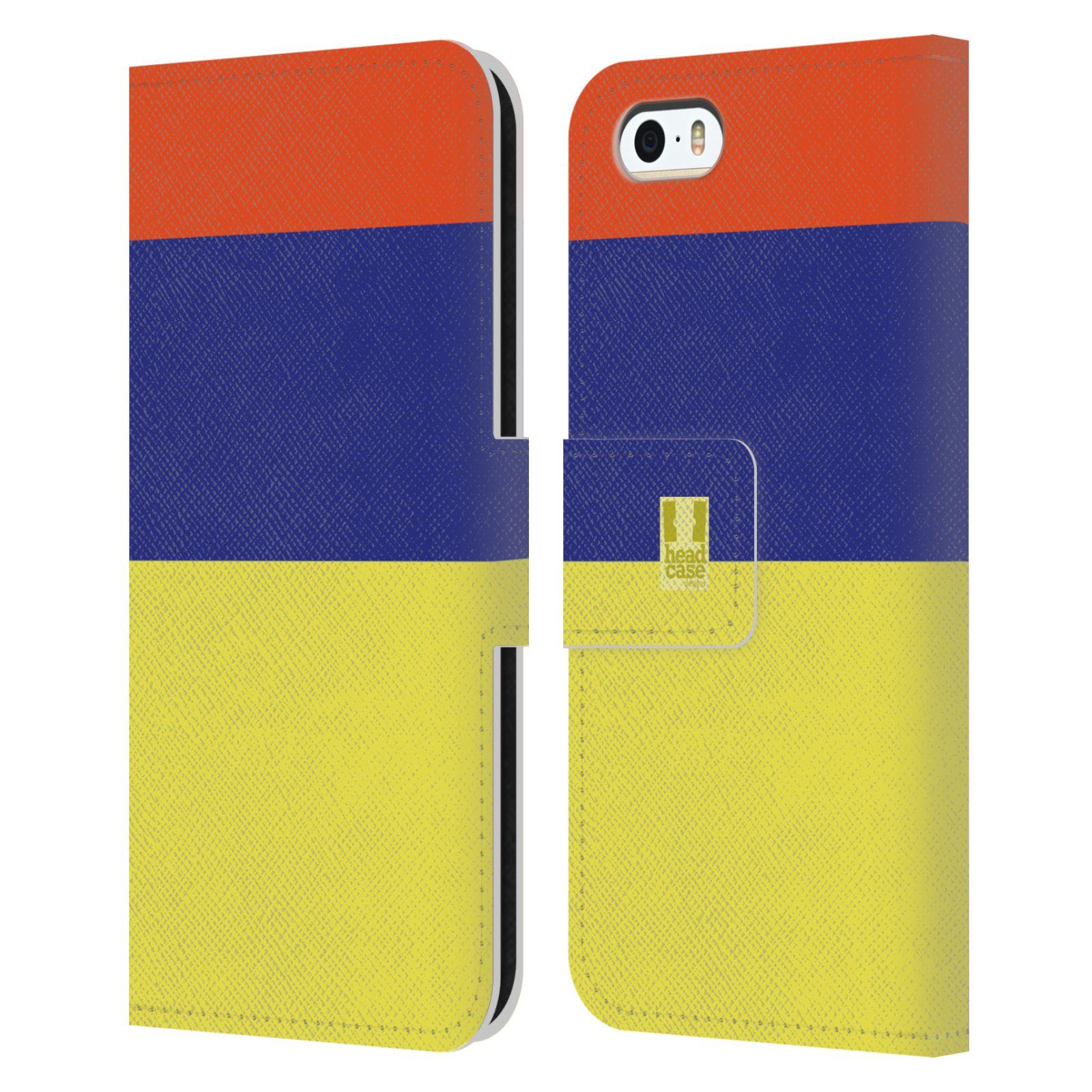 HEAD CASE Flipové pouzdro pro mobil Apple Iphone 5/5S barevné tvary žlutá, modrá, červená