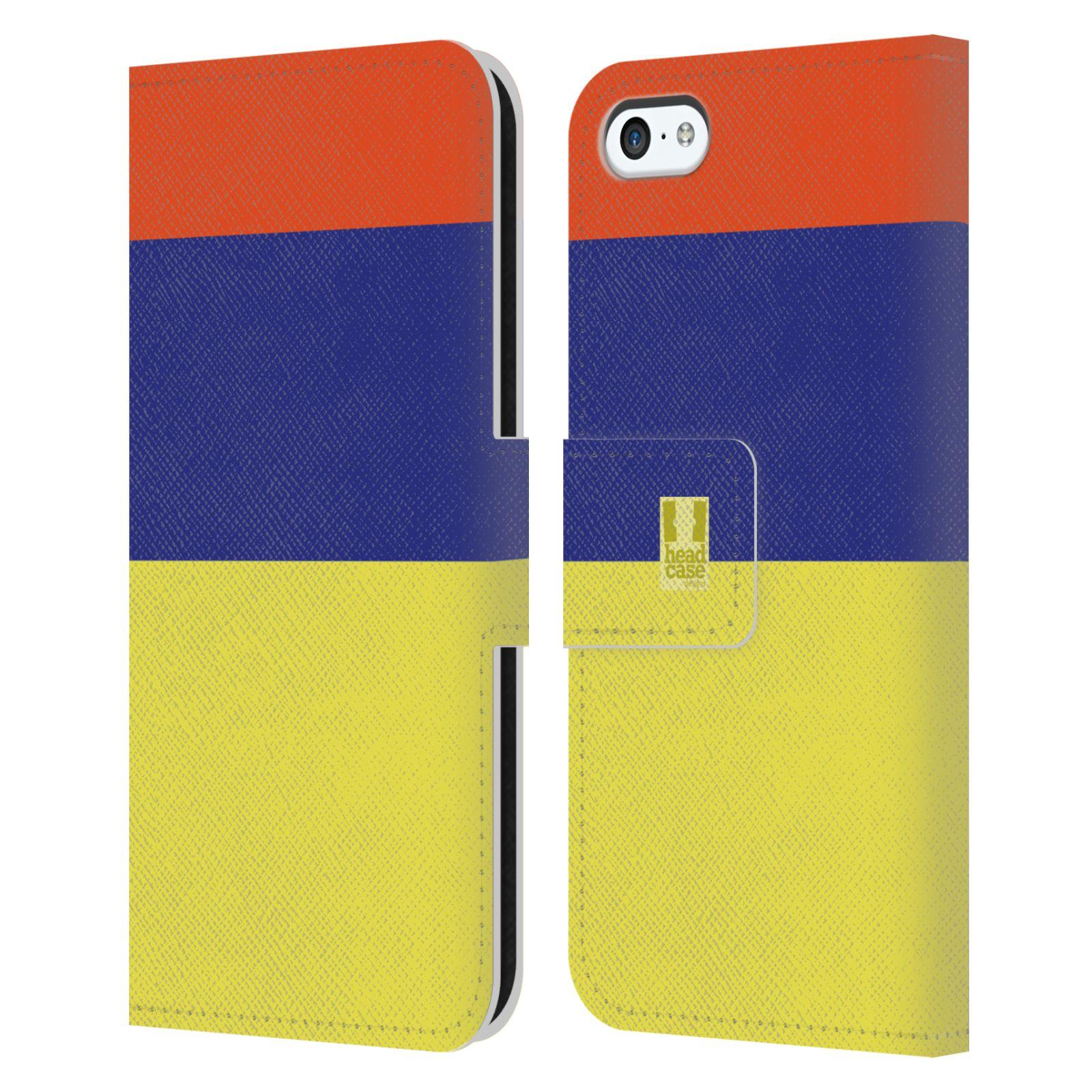 HEAD CASE Flipové pouzdro pro mobil Apple Iphone 5C barevné tvary žlutá, modrá, červená