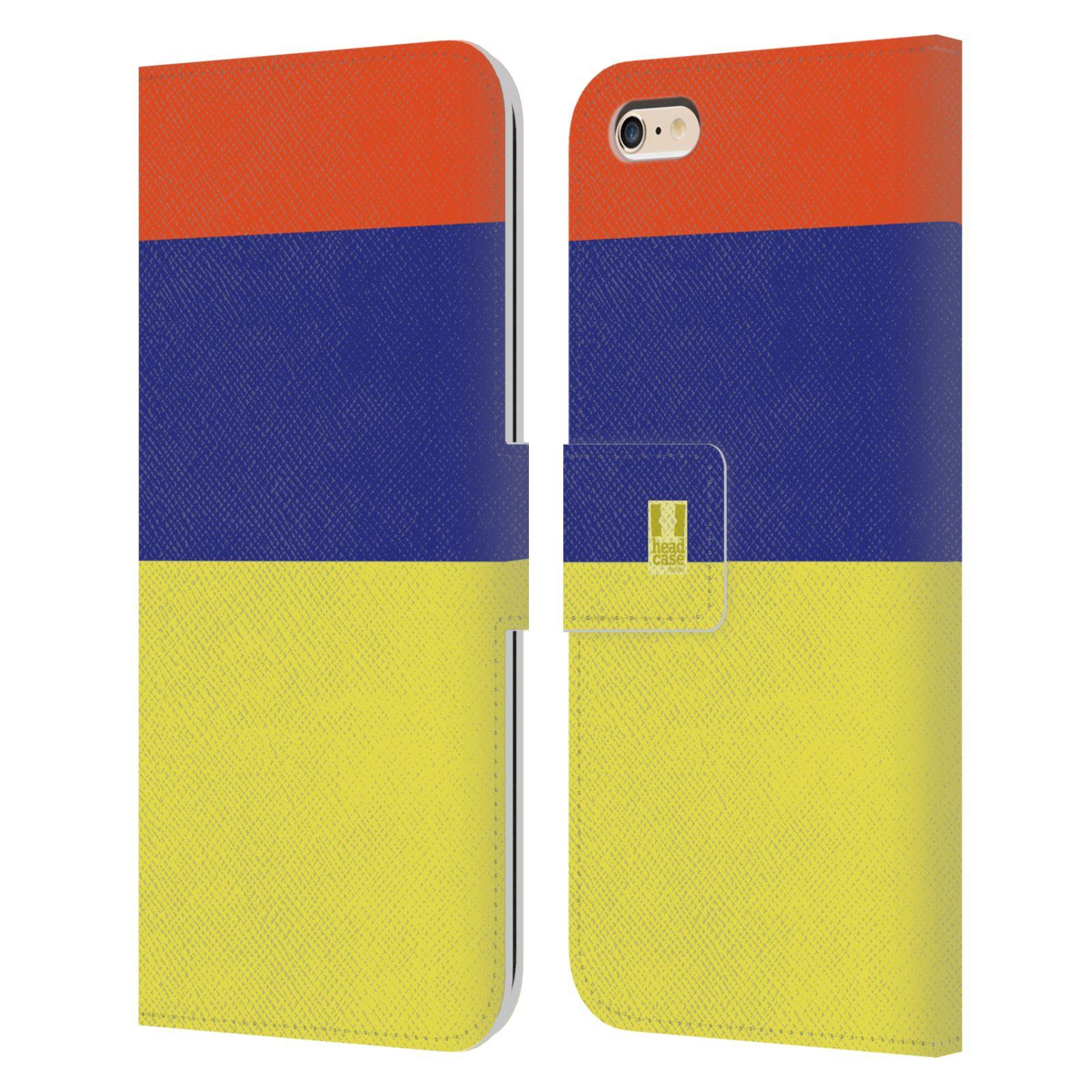 HEAD CASE Flipové pouzdro pro mobil Apple Iphone 6 PLUS/6S PLUS barevné tvary žlutá, modrá, červená