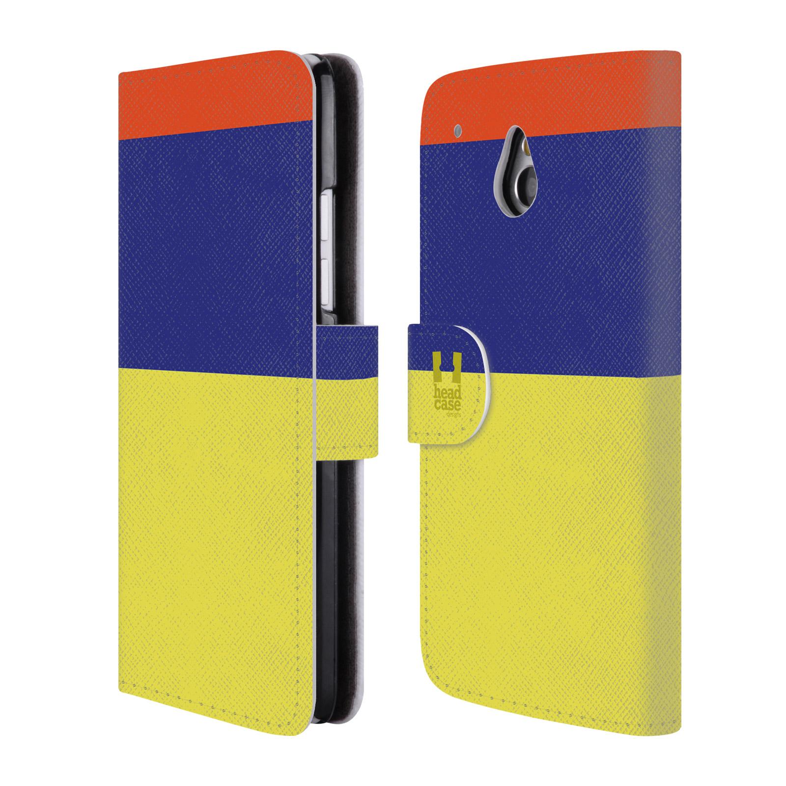 HEAD CASE Flipové pouzdro pro mobil HTC ONE MINI barevné tvary žlutá, modrá, červená