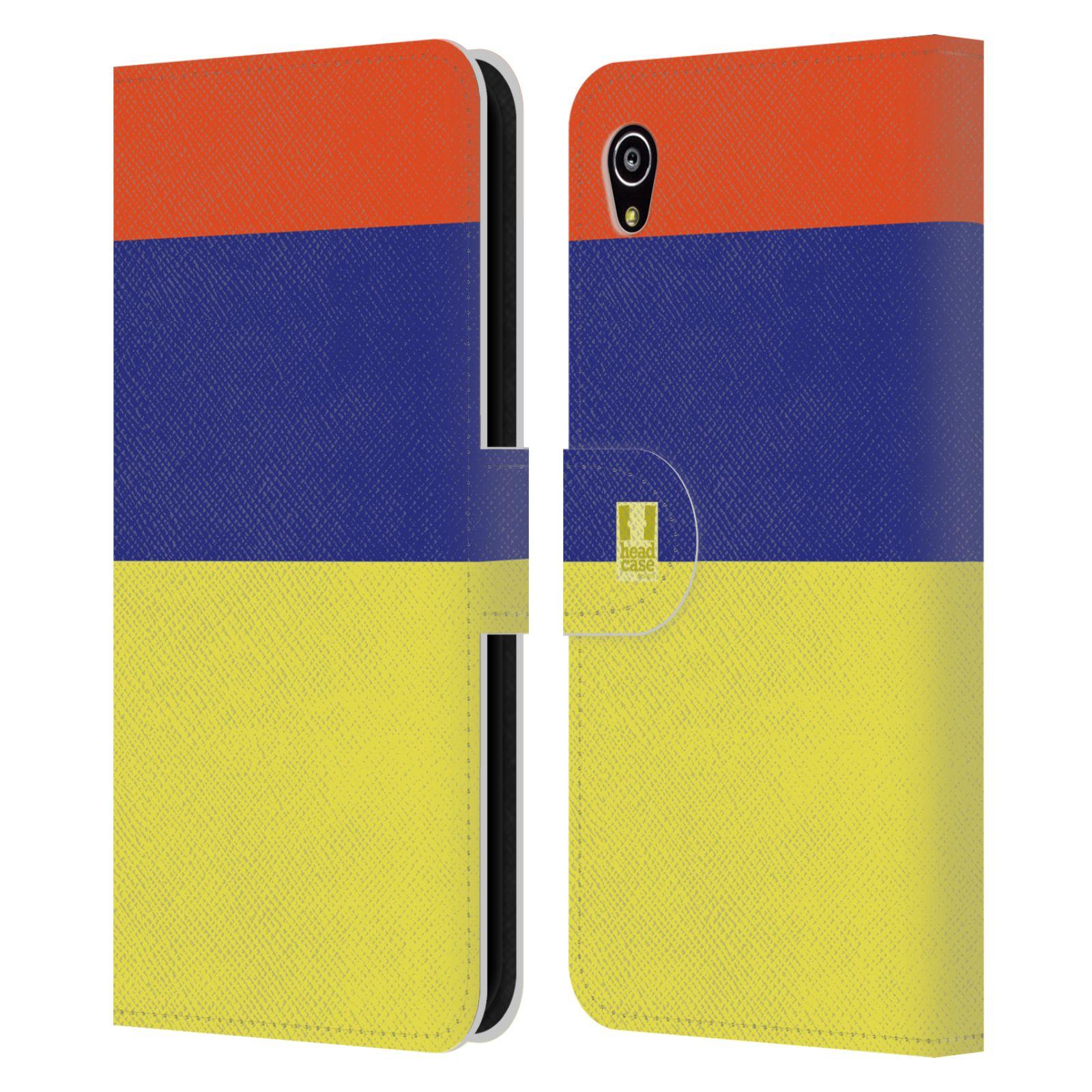 HEAD CASE Flipové pouzdro pro mobil SONY Xperia M4 Aqua barevné tvary žlutá, modrá, červená