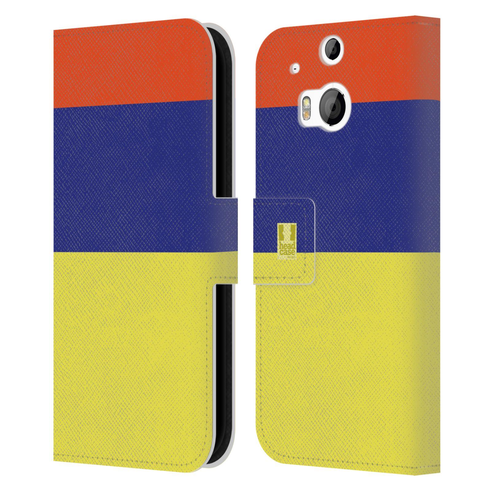HEAD CASE Flipové pouzdro pro mobil HTC ONE M8/M8s barevné tvary žlutá, modrá, červená