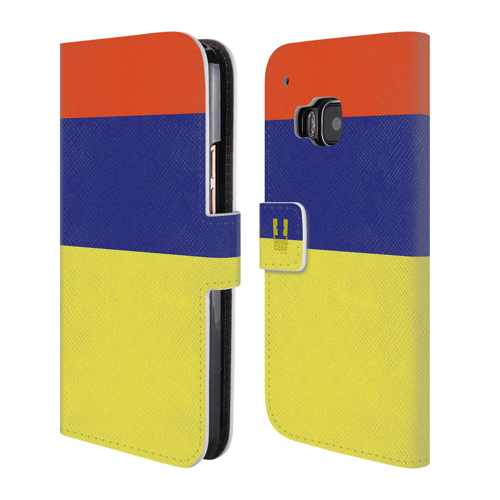 HEAD CASE Flipové pouzdro pro mobil HTC ONE M9 barevné tvary žlutá, modrá, červená