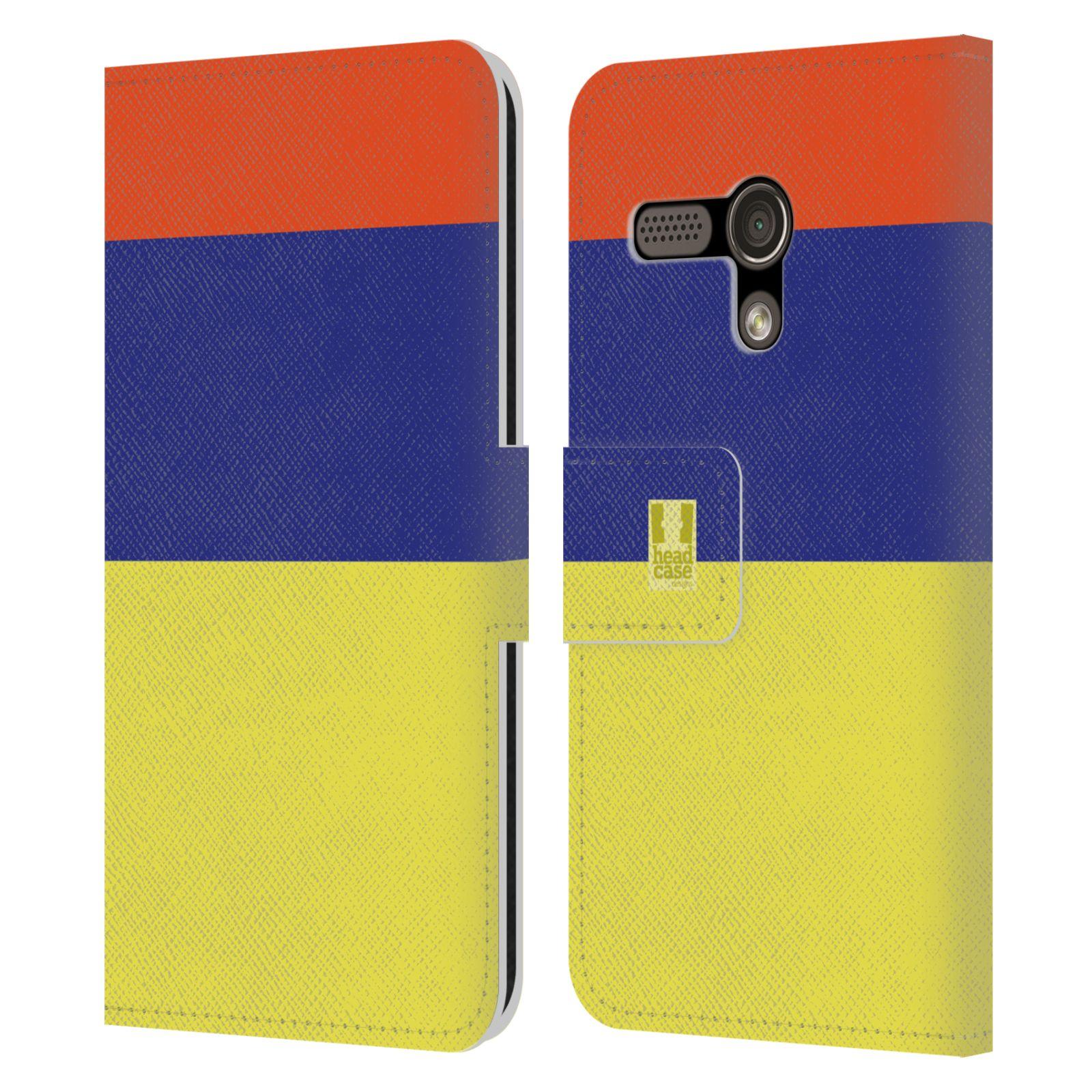 HEAD CASE Flipové pouzdro pro mobil Motorola MOTO G barevné tvary žlutá, modrá, červená