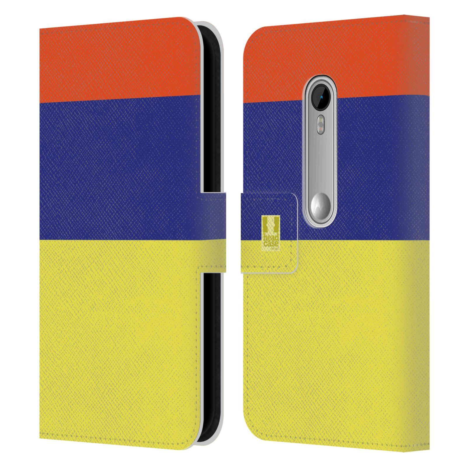 HEAD CASE Flipové pouzdro pro mobil Motorola MOTO G 3RD GENERATION barevné tvary žlutá, modrá, červená