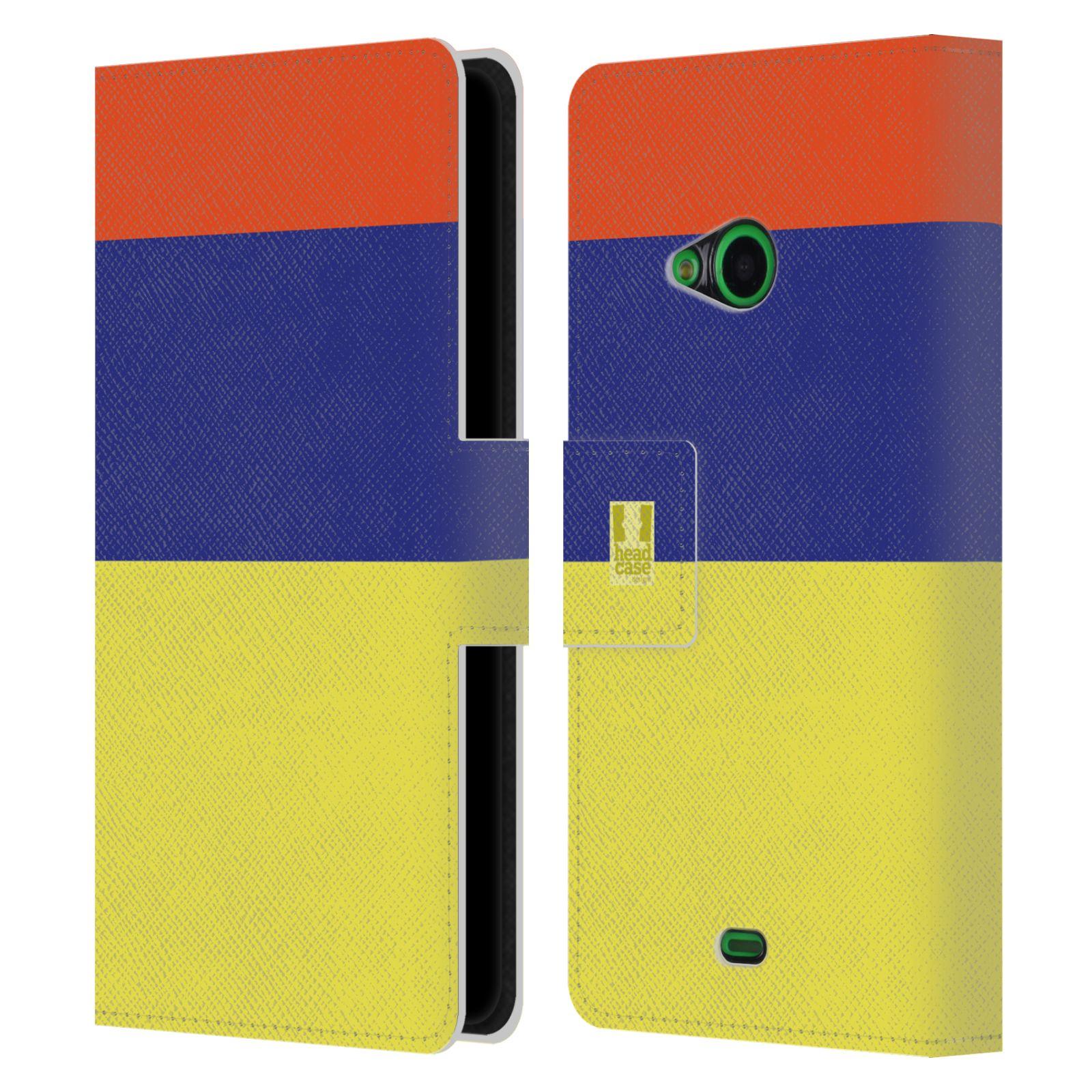 HEAD CASE Flipové pouzdro pro mobil Nokia LUMIA 535 barevné tvary žlutá, modrá, červená