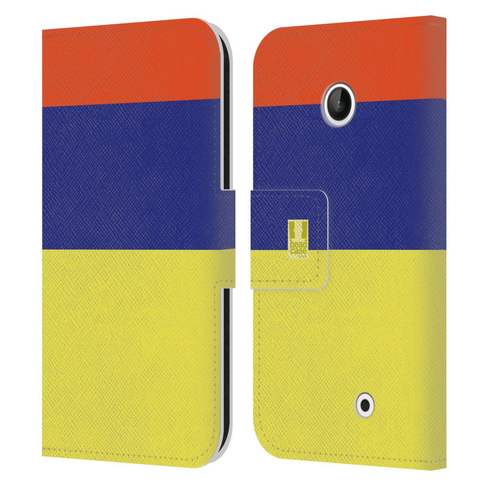 HEAD CASE Flipové pouzdro pro mobil Nokia LUMIA 630/630 DUAL barevné tvary žlutá, modrá, červená