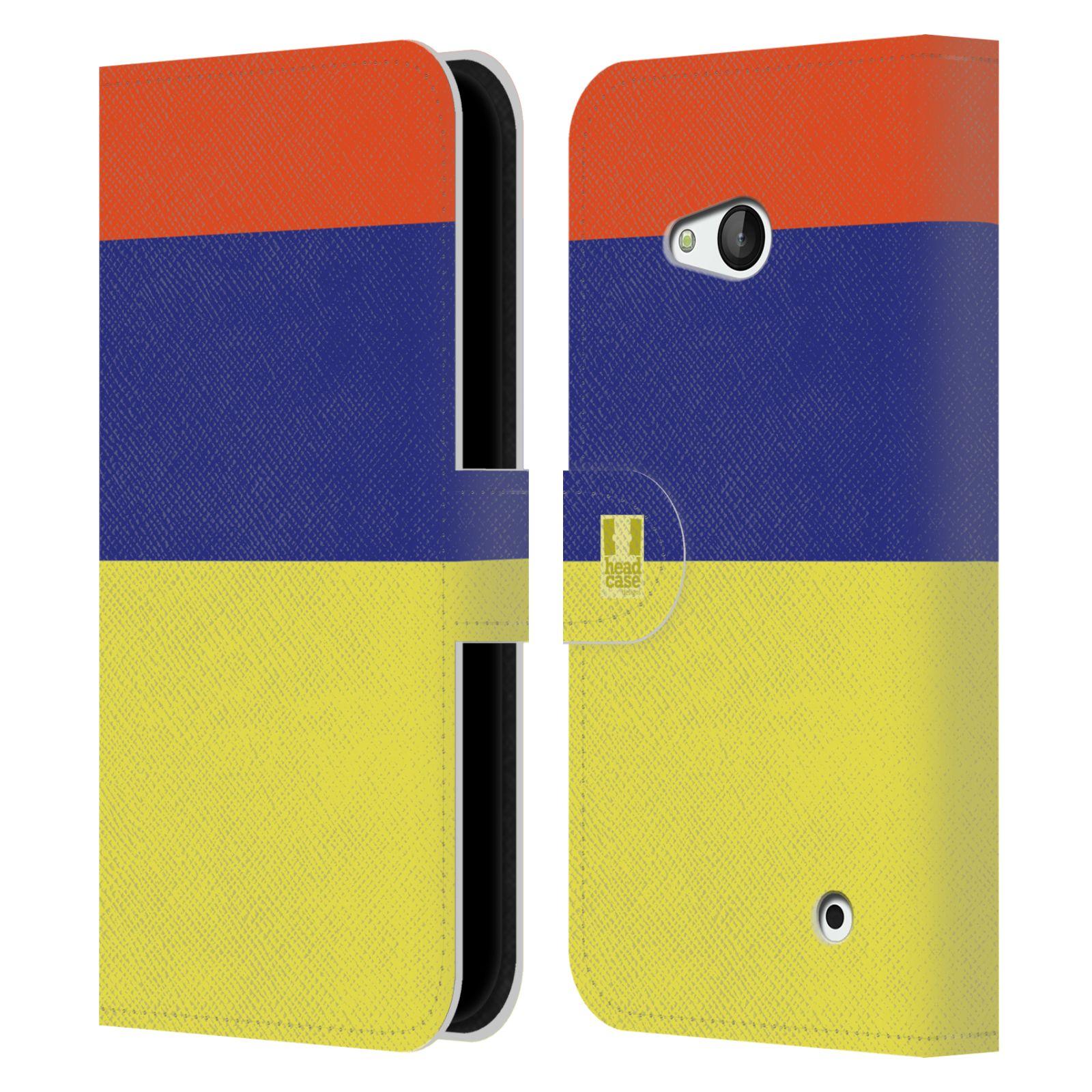 HEAD CASE Flipové pouzdro pro mobil Nokia LUMIA 640 barevné tvary žlutá, modrá, červená