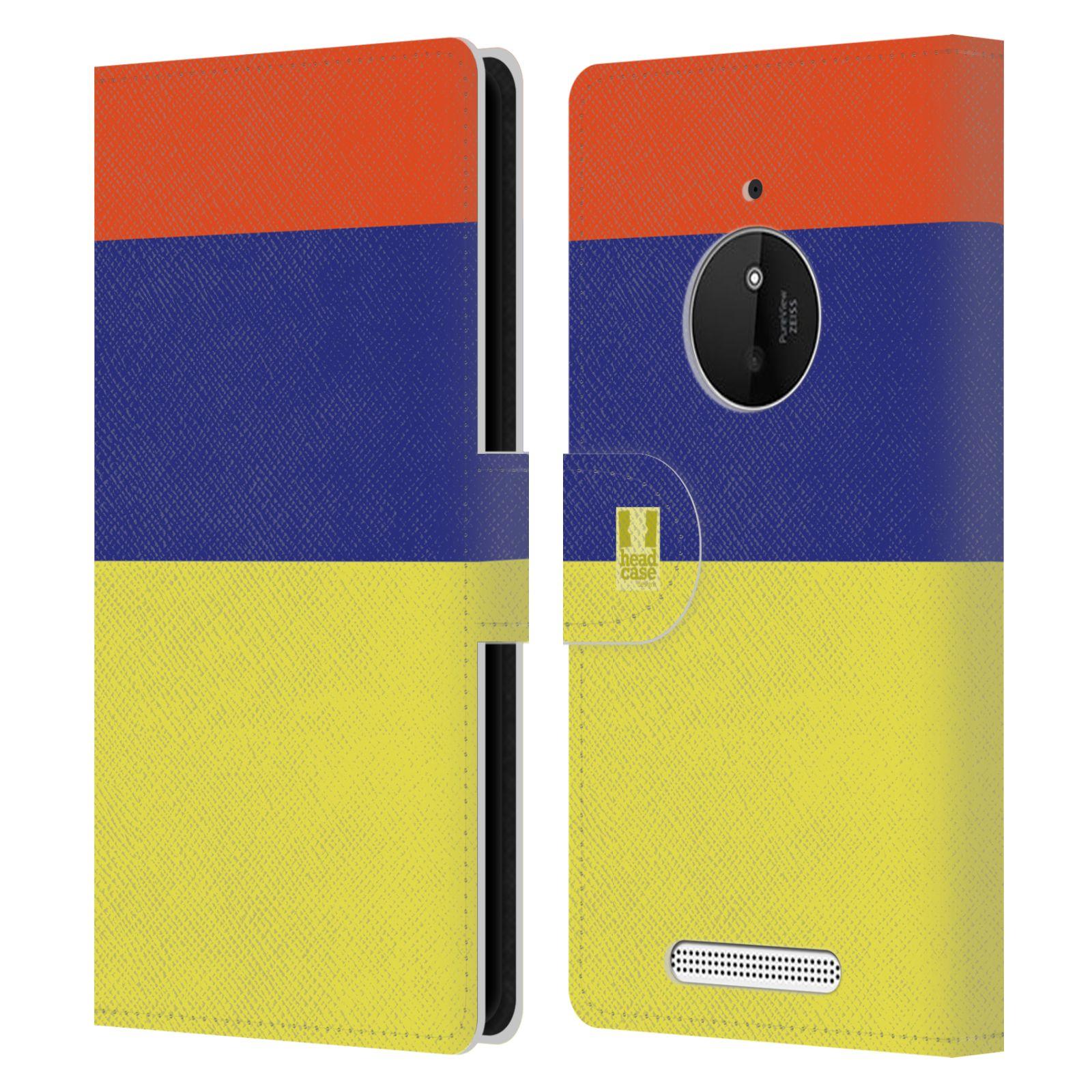 HEAD CASE Flipové pouzdro pro mobil Nokia LUMIA 830 barevné tvary žlutá, modrá, červená