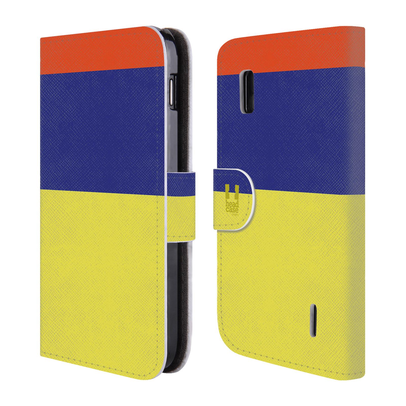 HEAD CASE Flipové pouzdro pro mobil LG NEXUS 4 barevné tvary žlutá, modrá, červená