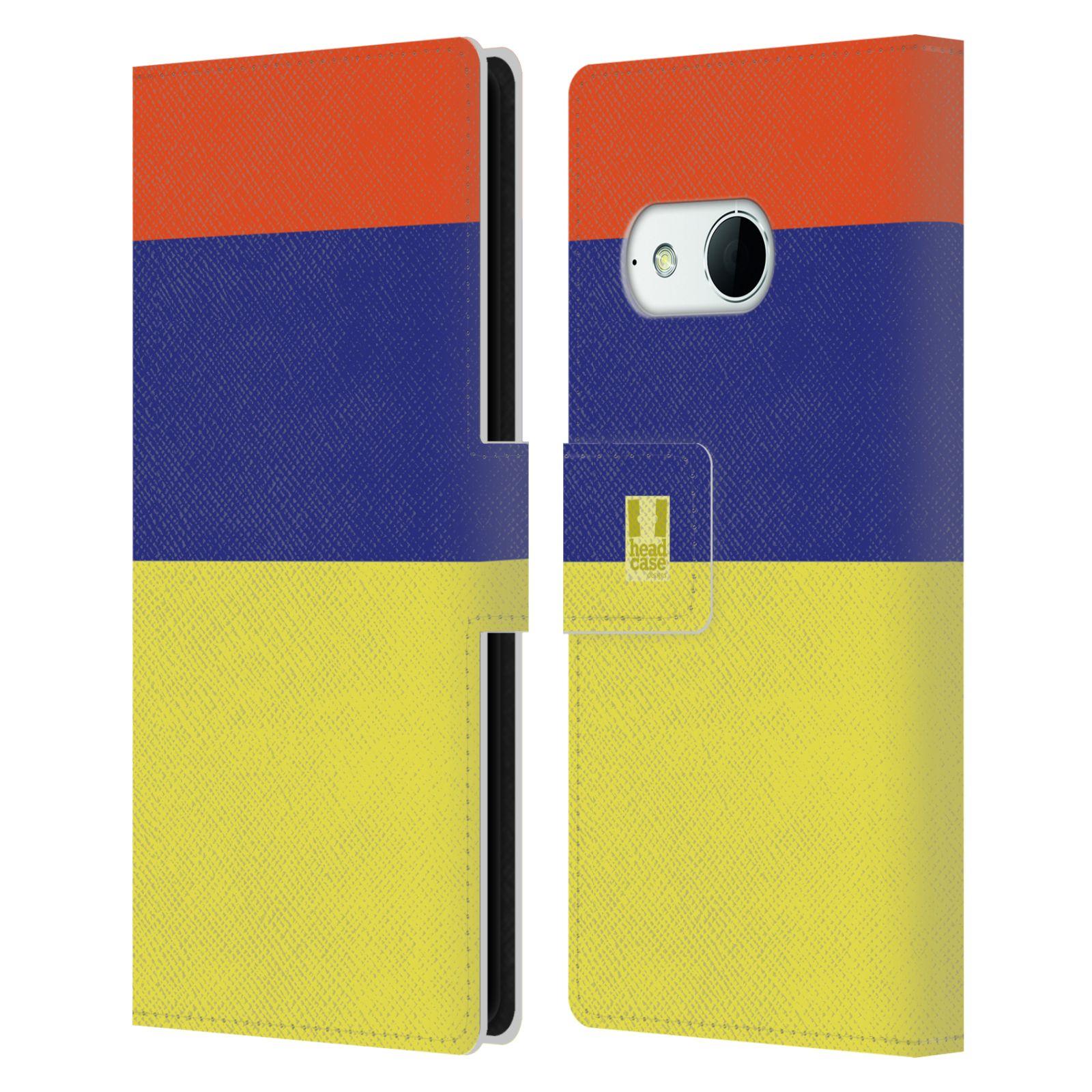 HEAD CASE Flipové pouzdro pro mobil HTC ONE MINI 2 barevné tvary žlutá, modrá, červená