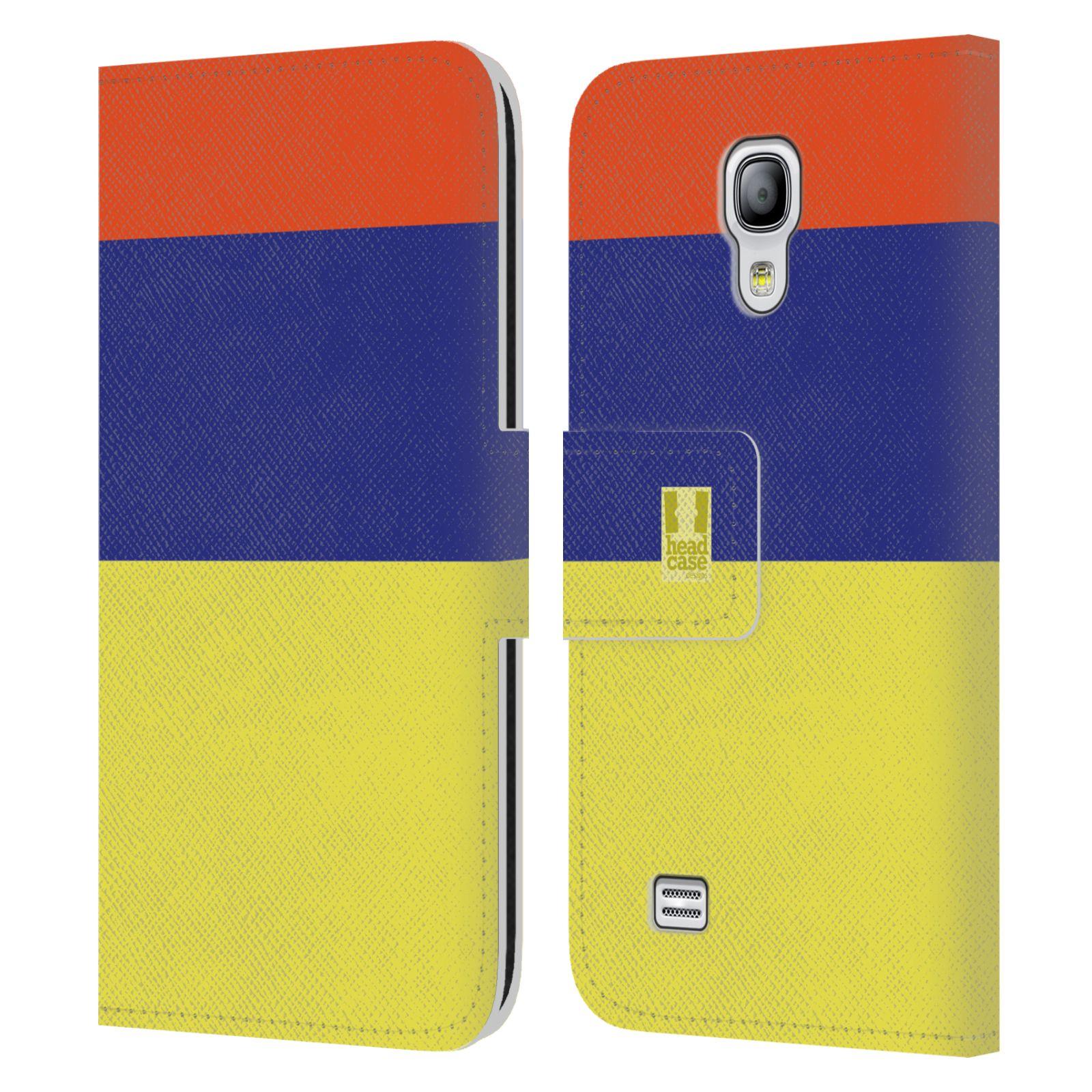 HEAD CASE Flipové pouzdro pro mobil Samsung Galaxy S4 MINI barevné tvary žlutá, modrá, červená