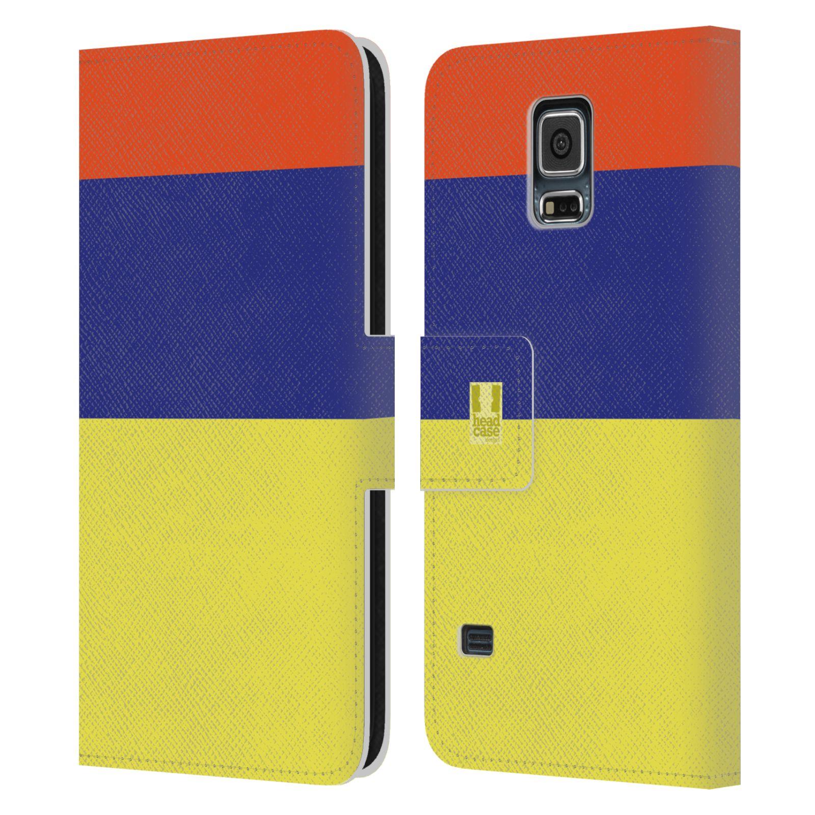 HEAD CASE Flipové pouzdro pro mobil Samsung Galaxy S5 barevné tvary žlutá, modrá, červená