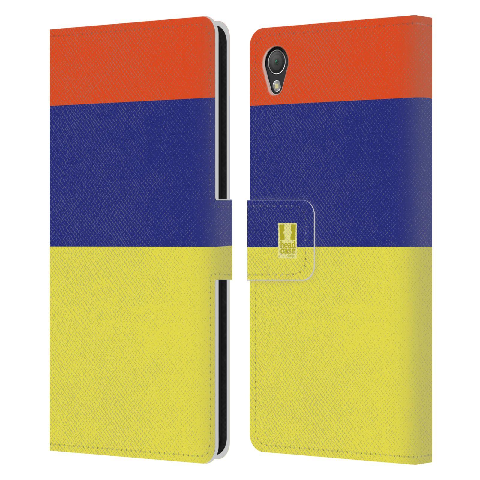 HEAD CASE Flipové pouzdro pro mobil SONY XPERIA Z3 barevné tvary žlutá, modrá, červená