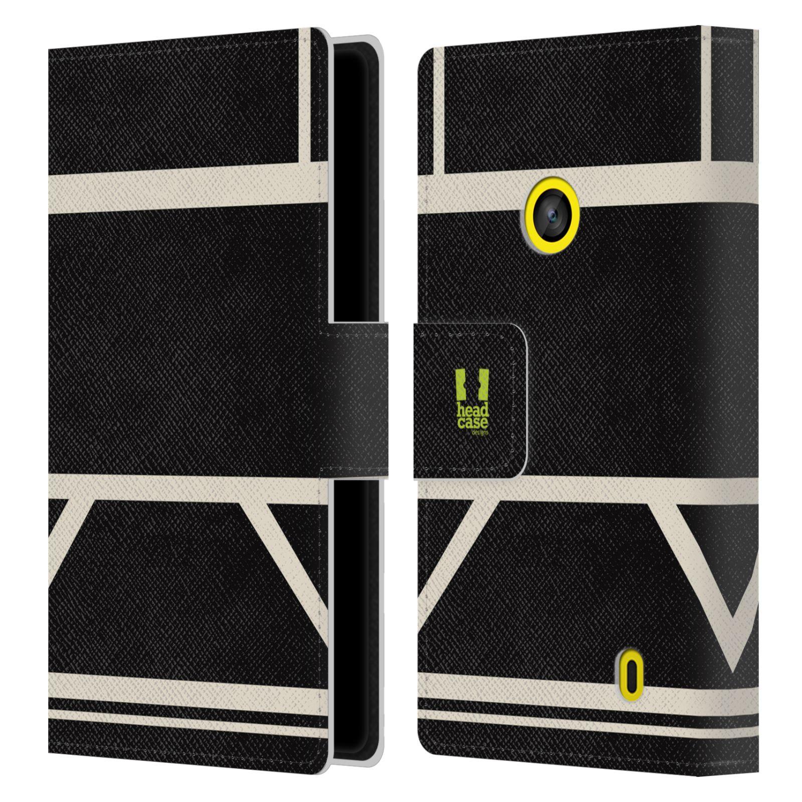 HEAD CASE Flipové pouzdro pro mobil Nokia LUMIA 520/525 barevné tvary černá a bílá proužek