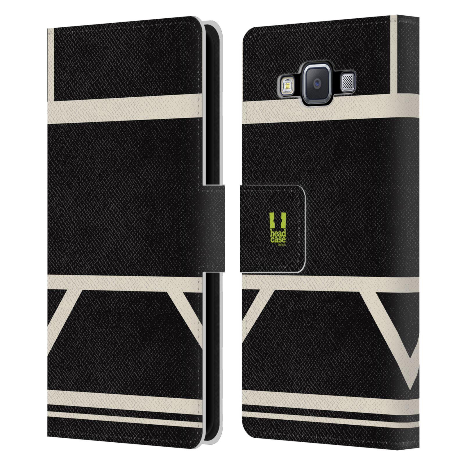 HEAD CASE Flipové pouzdro pro mobil Samsung Galaxy A5 barevné tvary černá a bílá proužek
