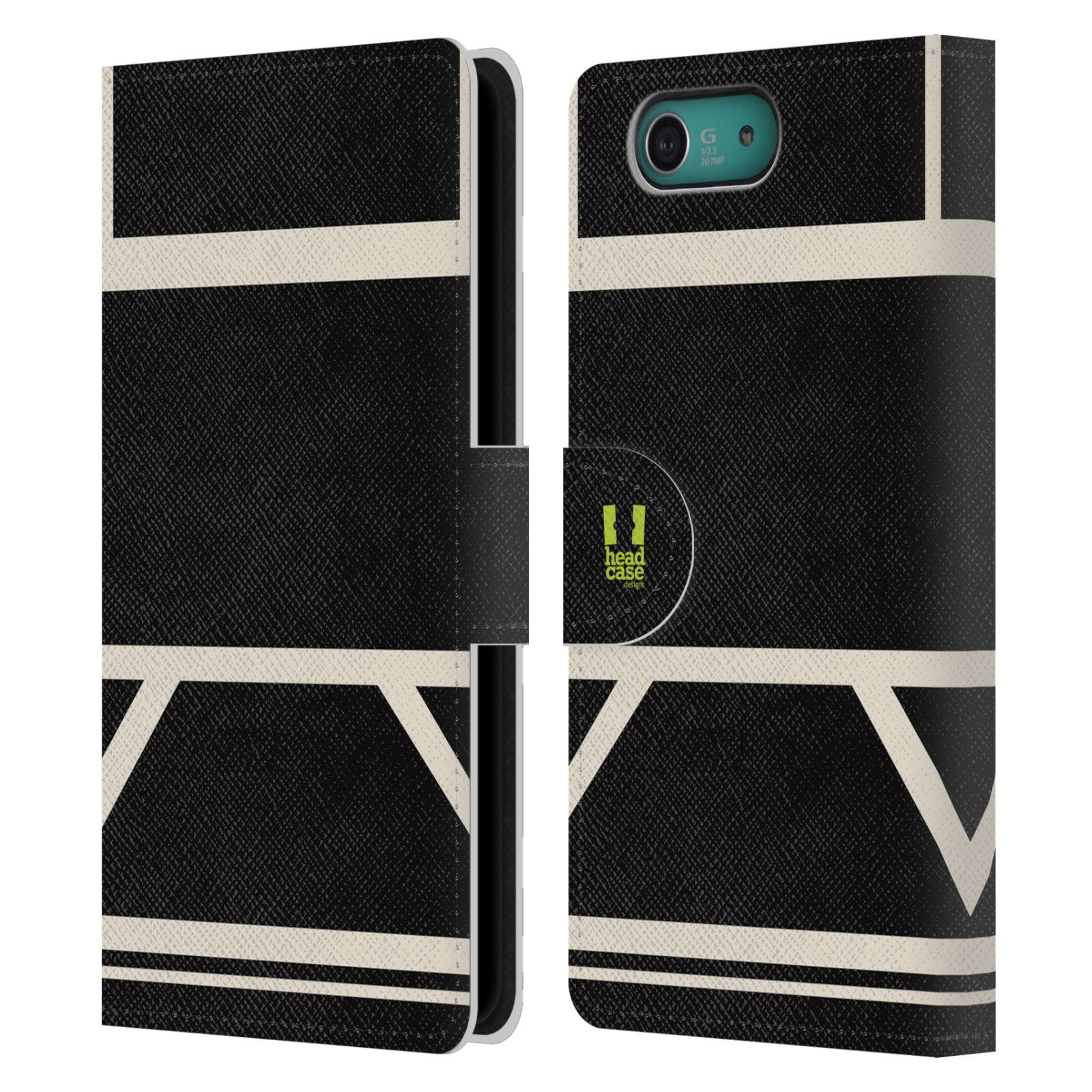 HEAD CASE Flipové pouzdro pro mobil SONY XPERIA Z3 COMPACT barevné tvary černá a bílá proužek