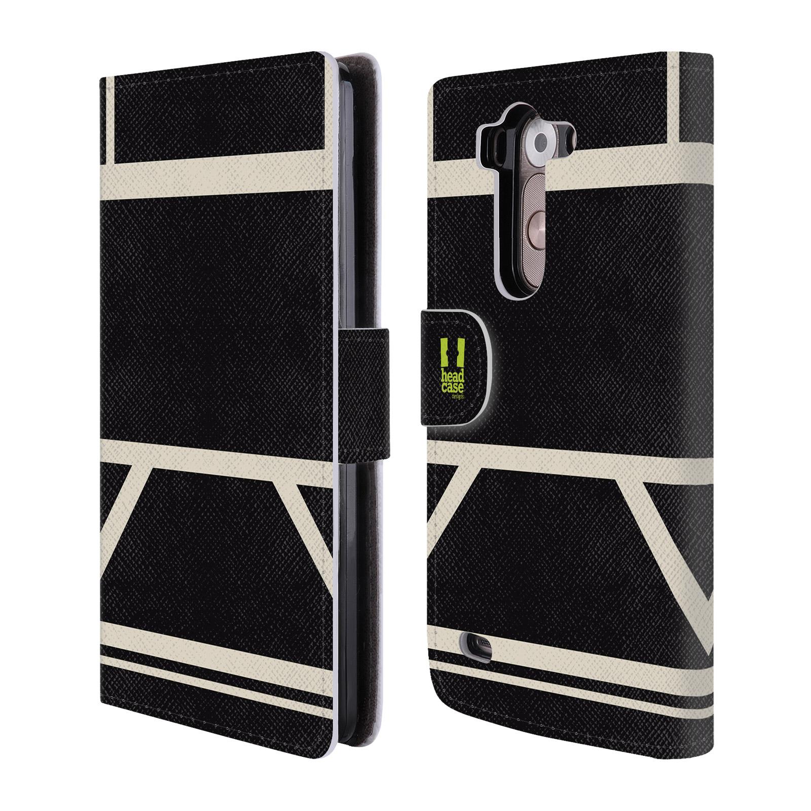 HEAD CASE Flipové pouzdro pro mobil LG G3s barevné tvary černá a bílá proužek