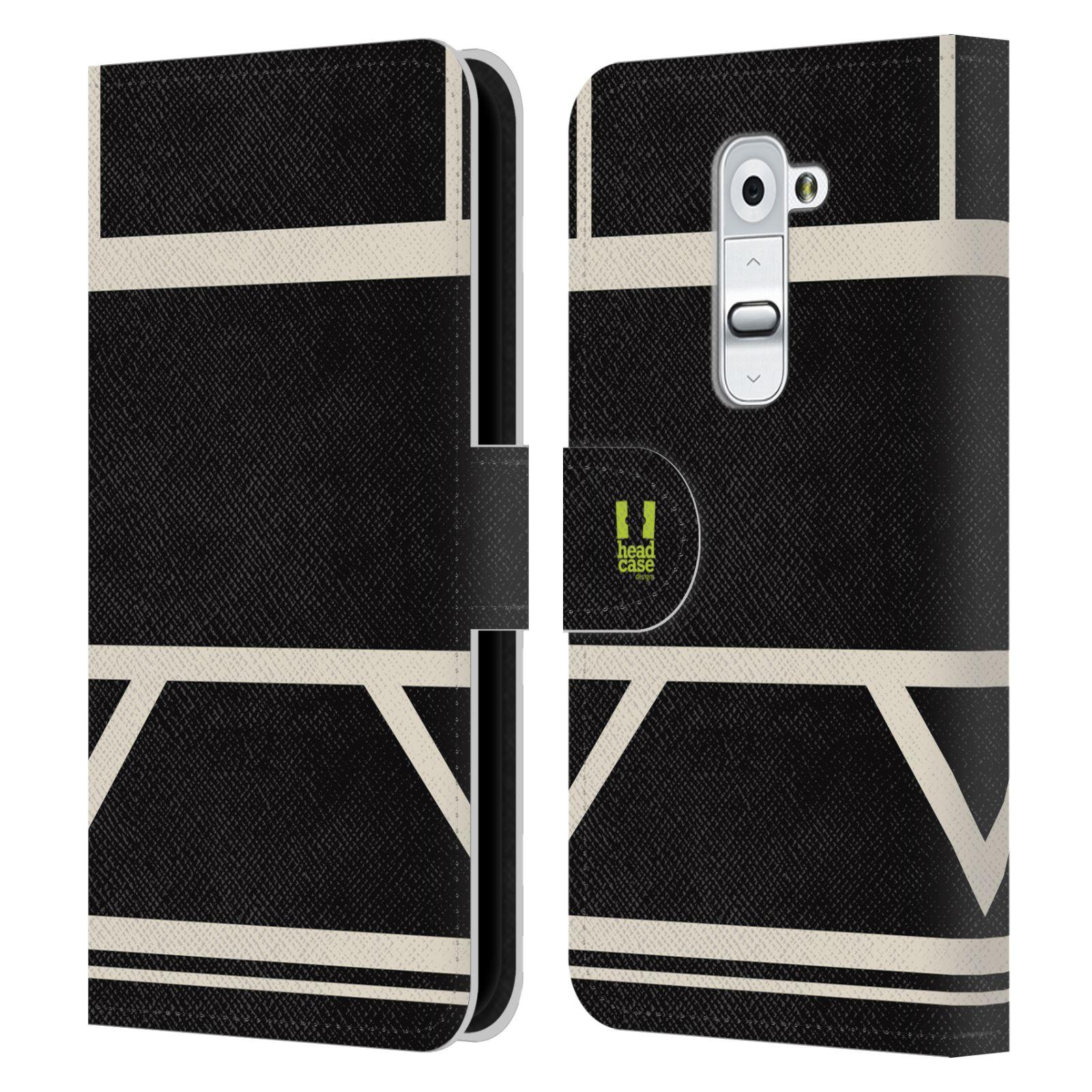 HEAD CASE Flipové pouzdro pro mobil LG G2 barevné tvary černá a bílá proužek