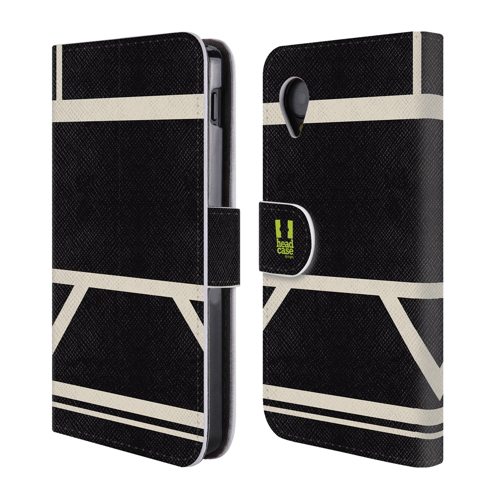 HEAD CASE Flipové pouzdro pro mobil LG GOOGLE NEXUS 5 barevné tvary černá a bílá proužek
