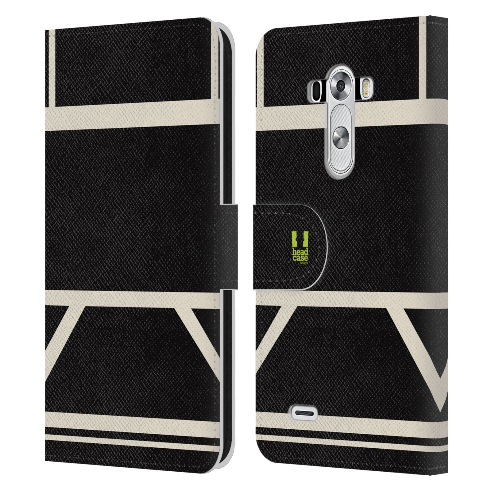 HEAD CASE Flipové pouzdro pro mobil LG G3 barevné tvary černá a bílá proužek