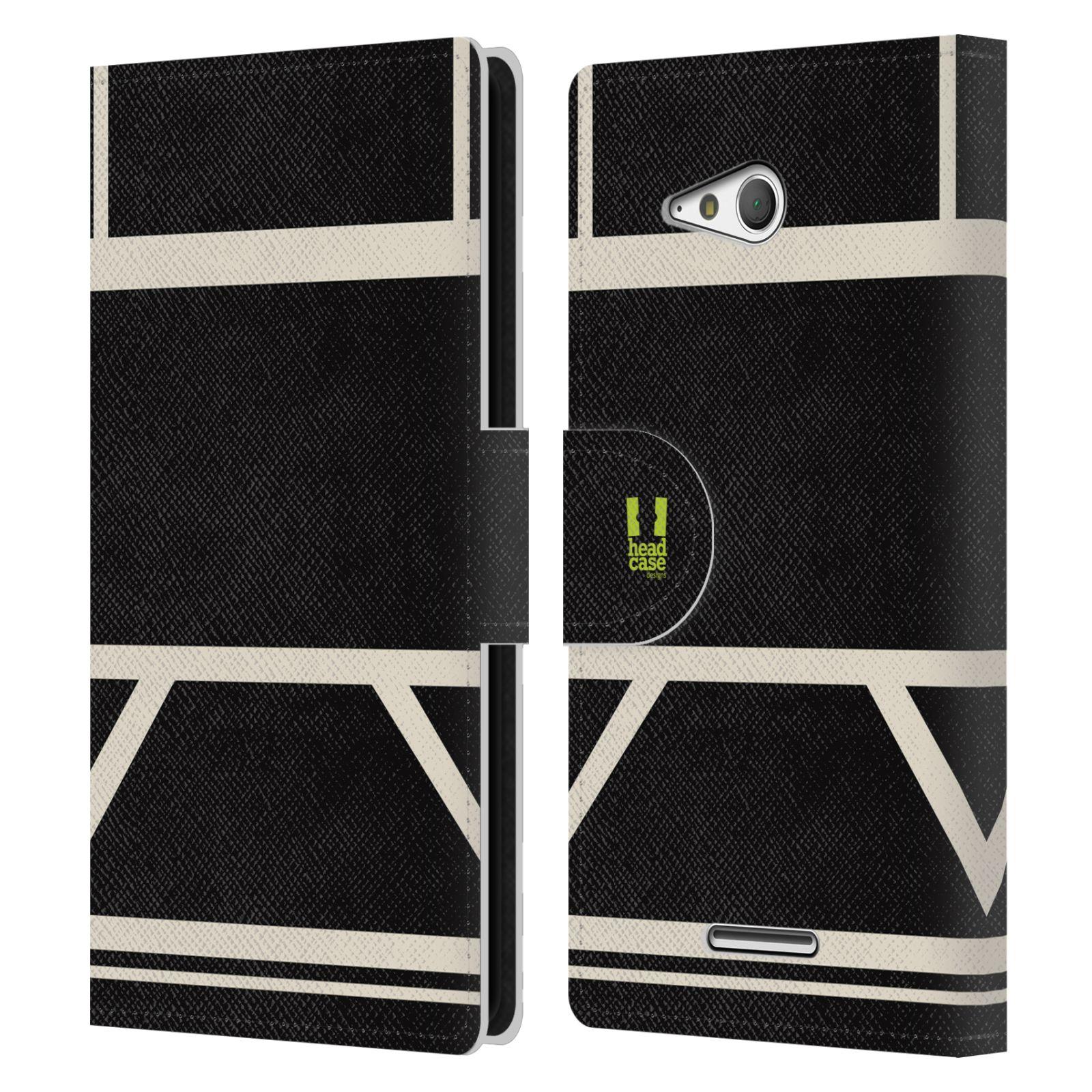 HEAD CASE Flipové pouzdro pro mobil SONY Xperia E4g barevné tvary černá a bílá proužek