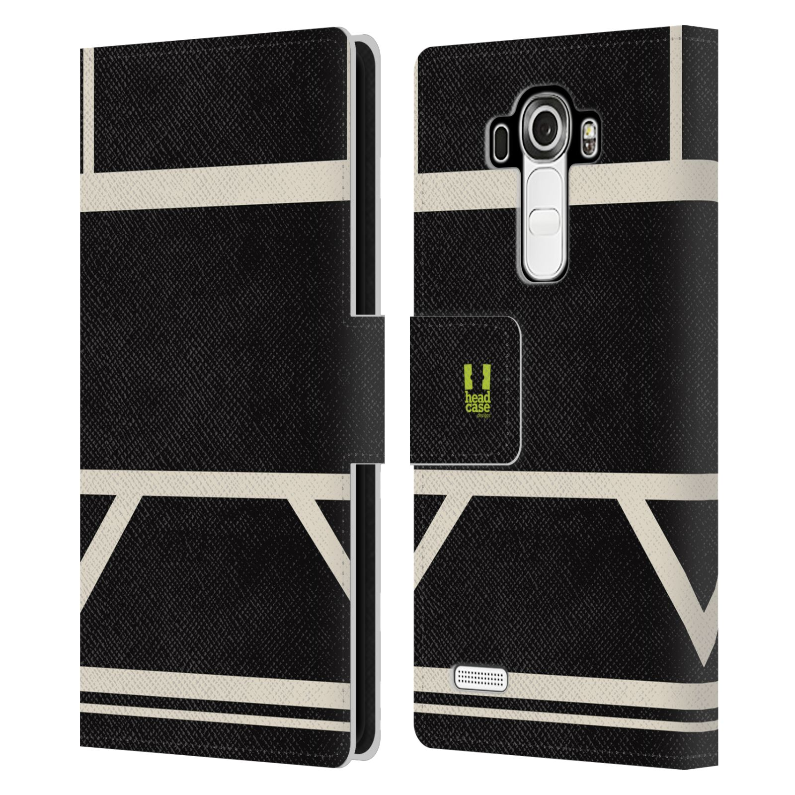 HEAD CASE Flipové pouzdro pro mobil LG G4 barevné tvary černá a bílá proužek