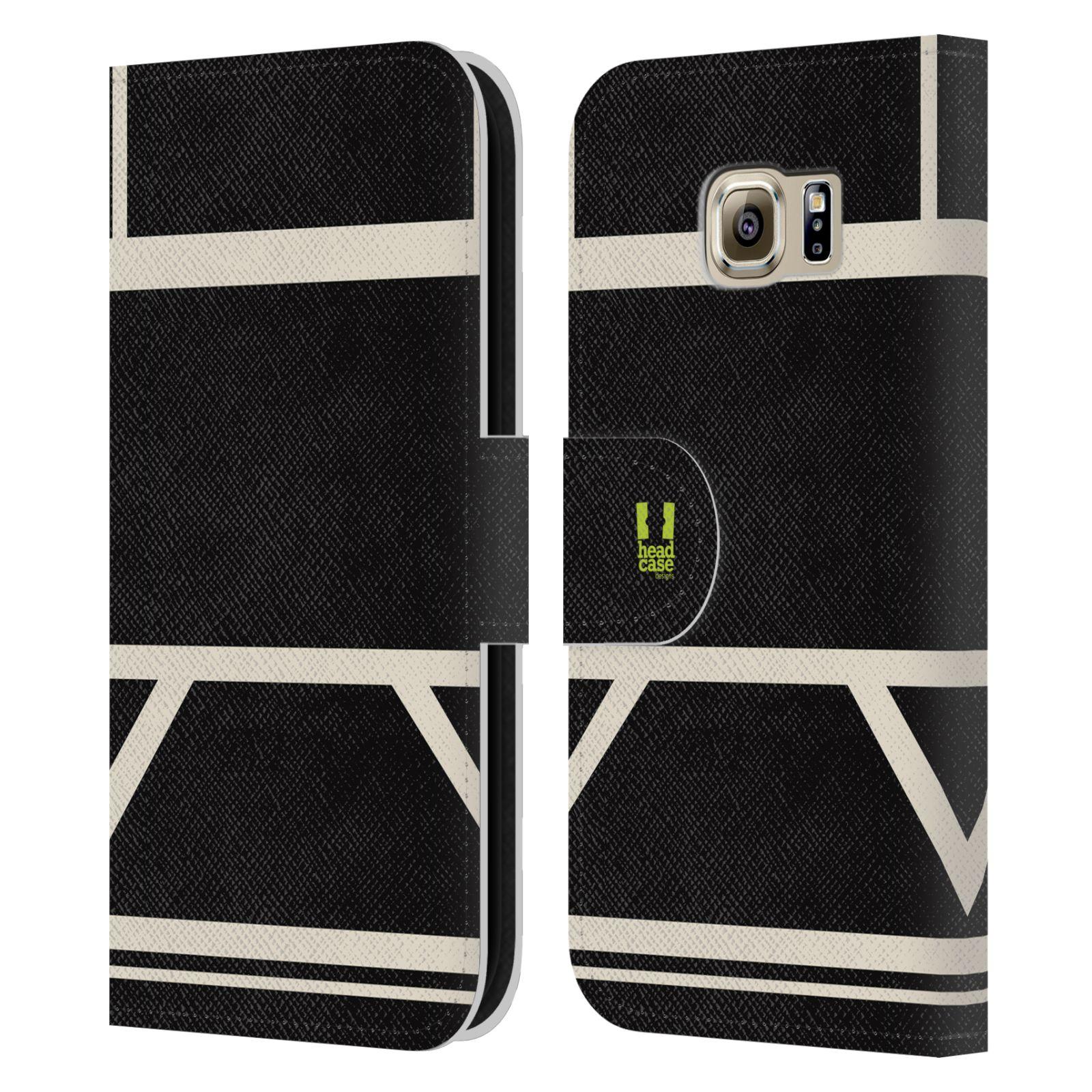 HEAD CASE Flipové pouzdro pro mobil Samsung Galaxy S6 barevné tvary černá a bílá proužek