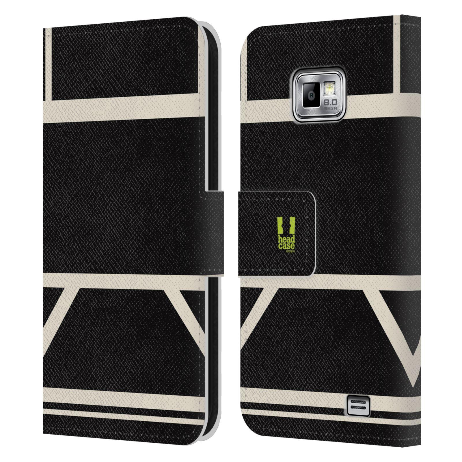 HEAD CASE Flipové pouzdro pro mobil Samsung Galaxy S2 i9100 barevné tvary černá a bílá proužek