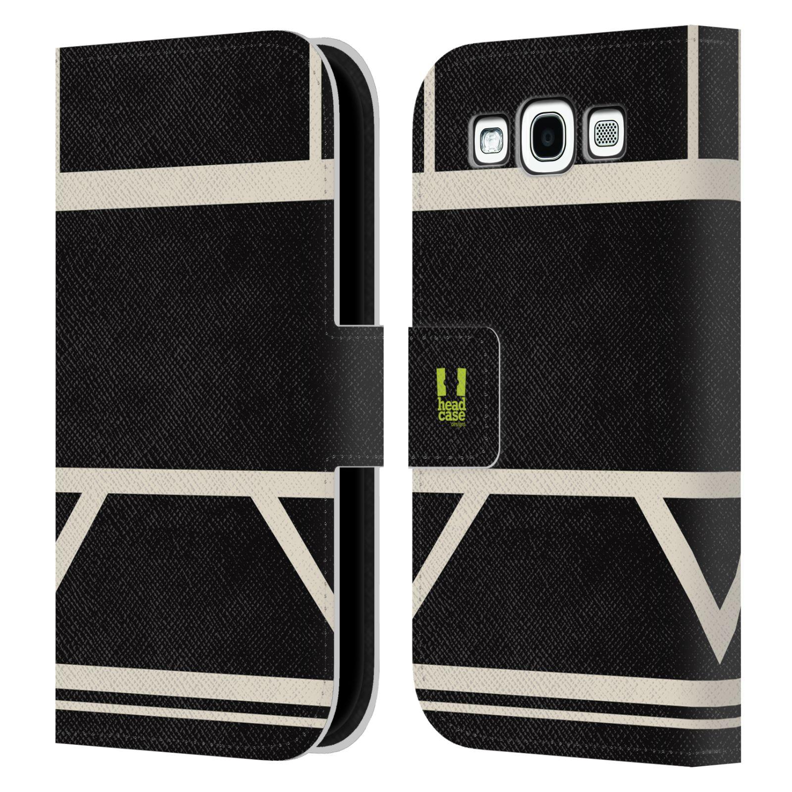 HEAD CASE Flipové pouzdro pro mobil Samsung Galaxy S3 I9300 barevné tvary černá a bílá proužek