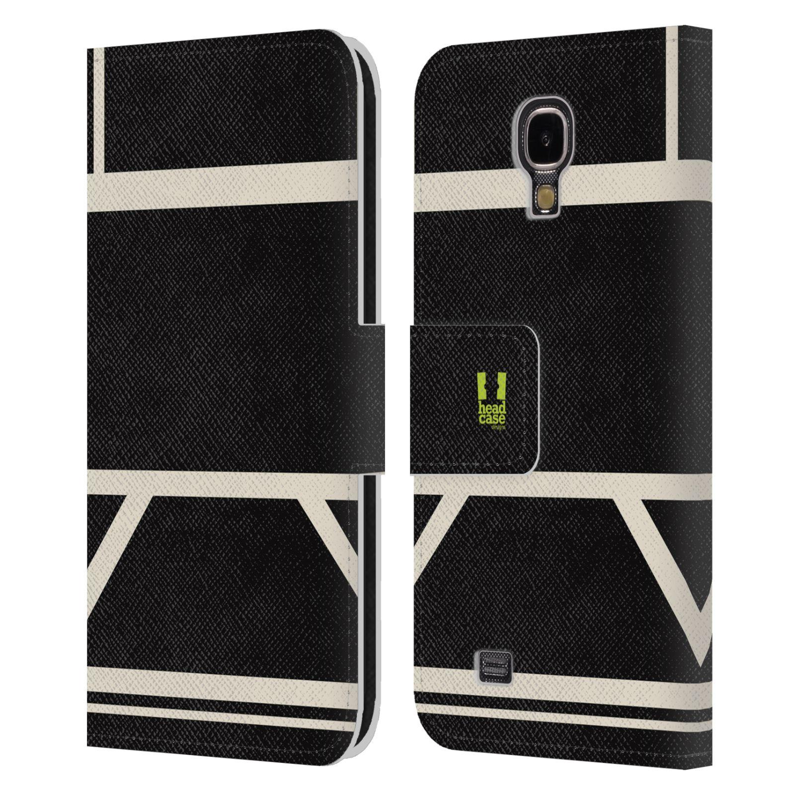 HEAD CASE Flipové pouzdro pro mobil Samsung Galaxy S4 I9500 barevné tvary černá a bílá proužek