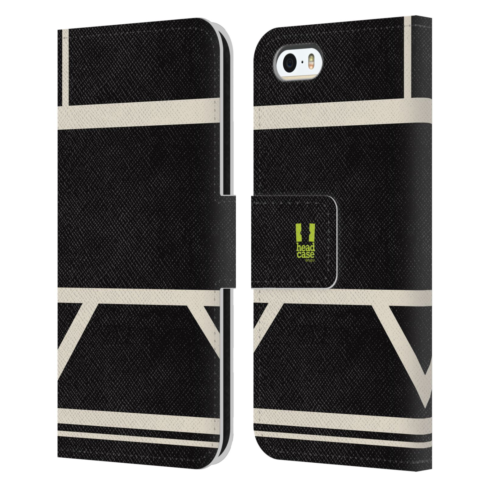 HEAD CASE Flipové pouzdro pro mobil Apple Iphone 5/5S barevné tvary černá a bílá proužek