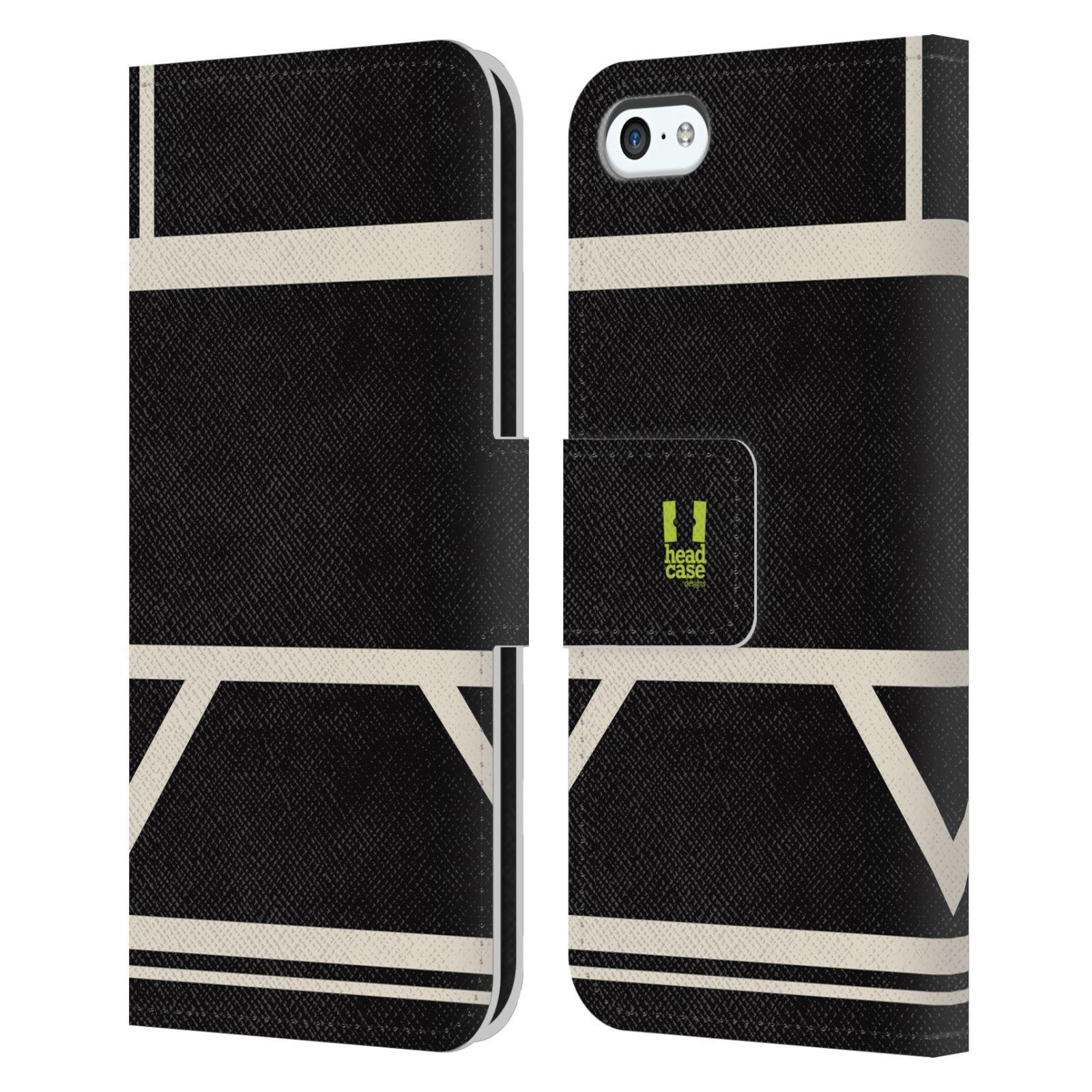HEAD CASE Flipové pouzdro pro mobil Apple Iphone 5C barevné tvary černá a bílá proužek
