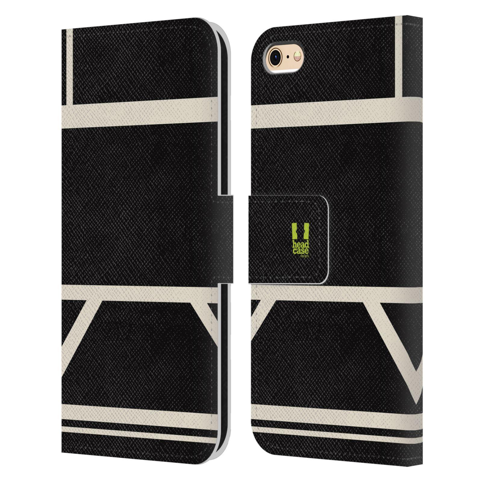 HEAD CASE Flipové pouzdro pro mobil Apple Iphone 6/6s barevné tvary černá a bílá proužek