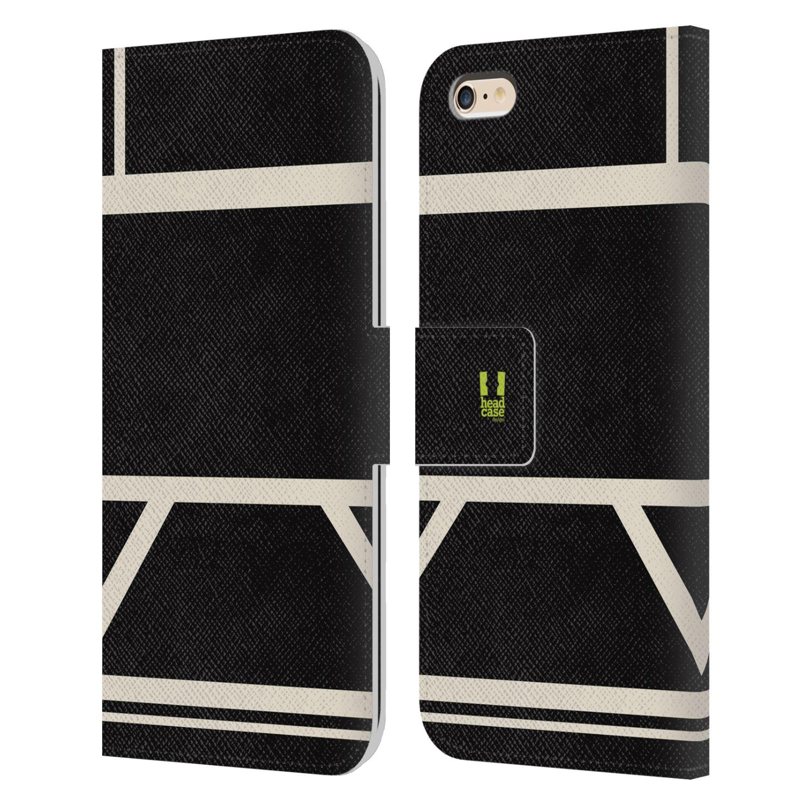 HEAD CASE Flipové pouzdro pro mobil Apple Iphone 6 PLUS/6S PLUS barevné tvary černá a bílá proužek